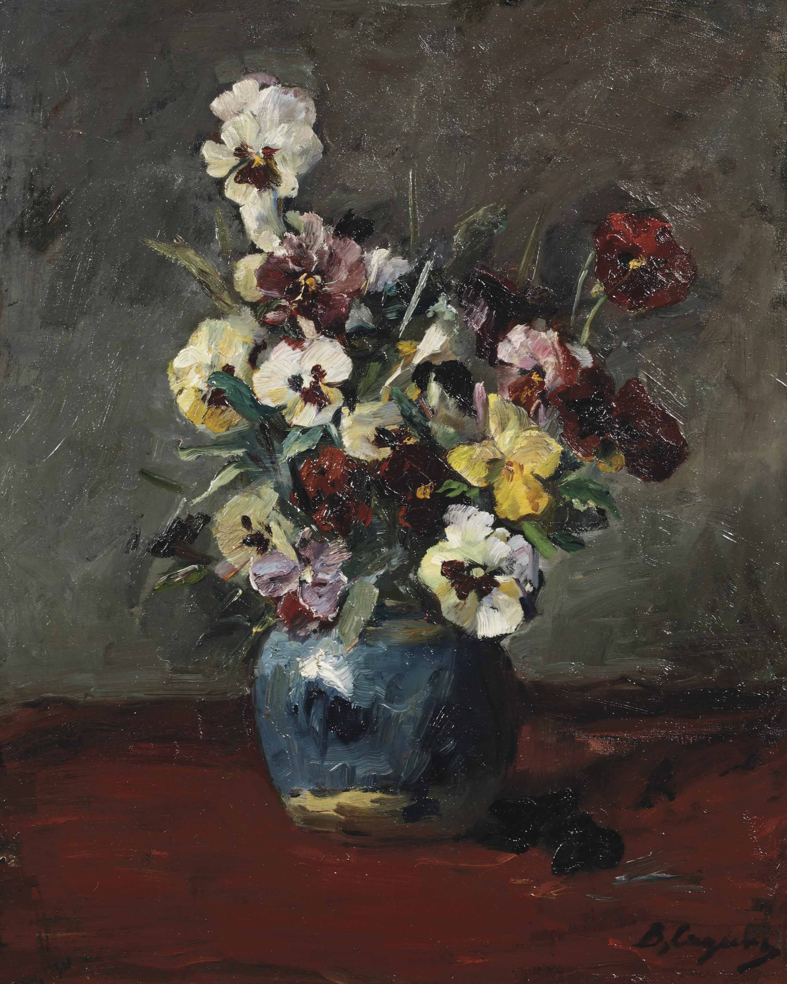 A still life with violets in a blue vase