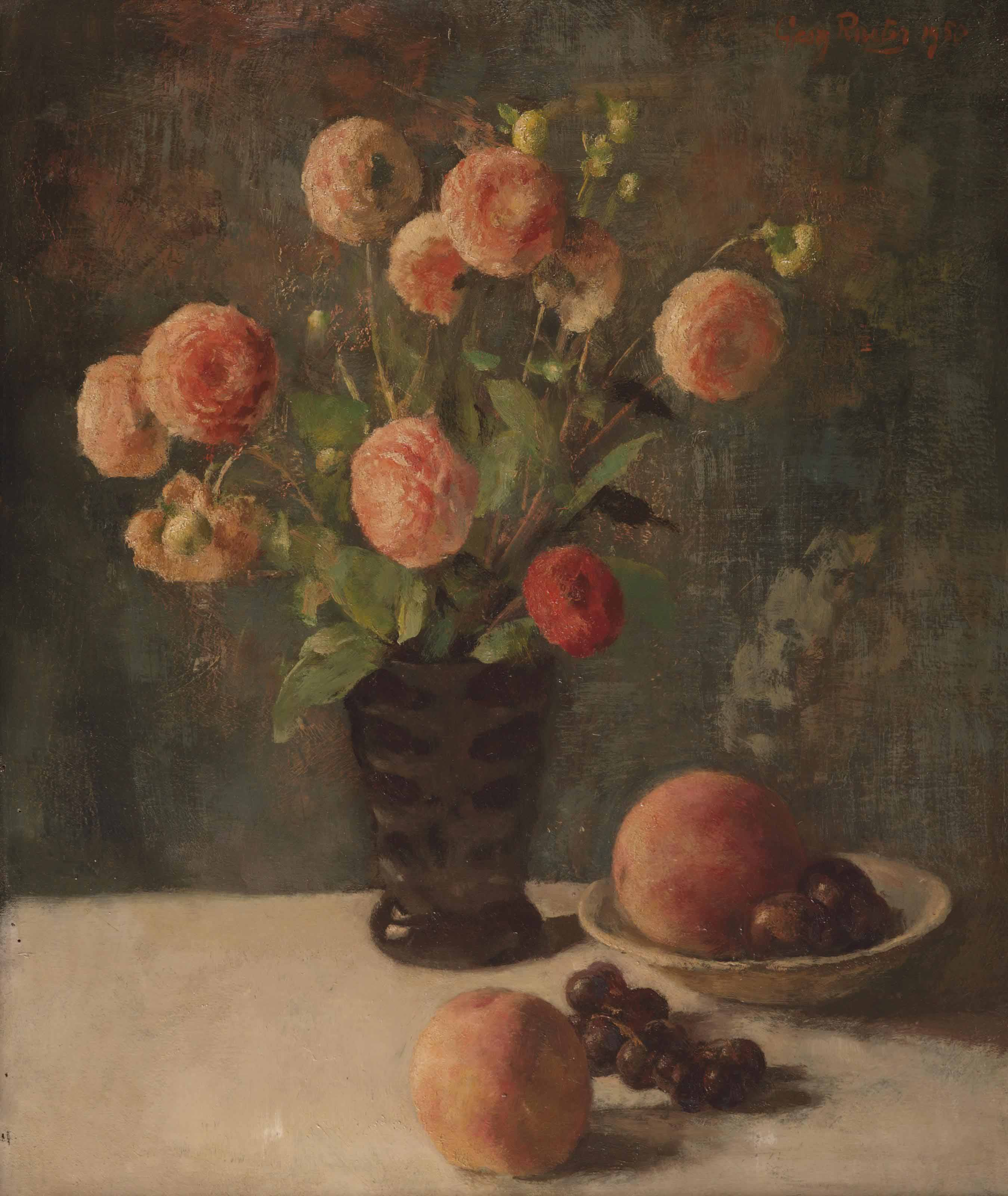 A still life with flowers and fruits