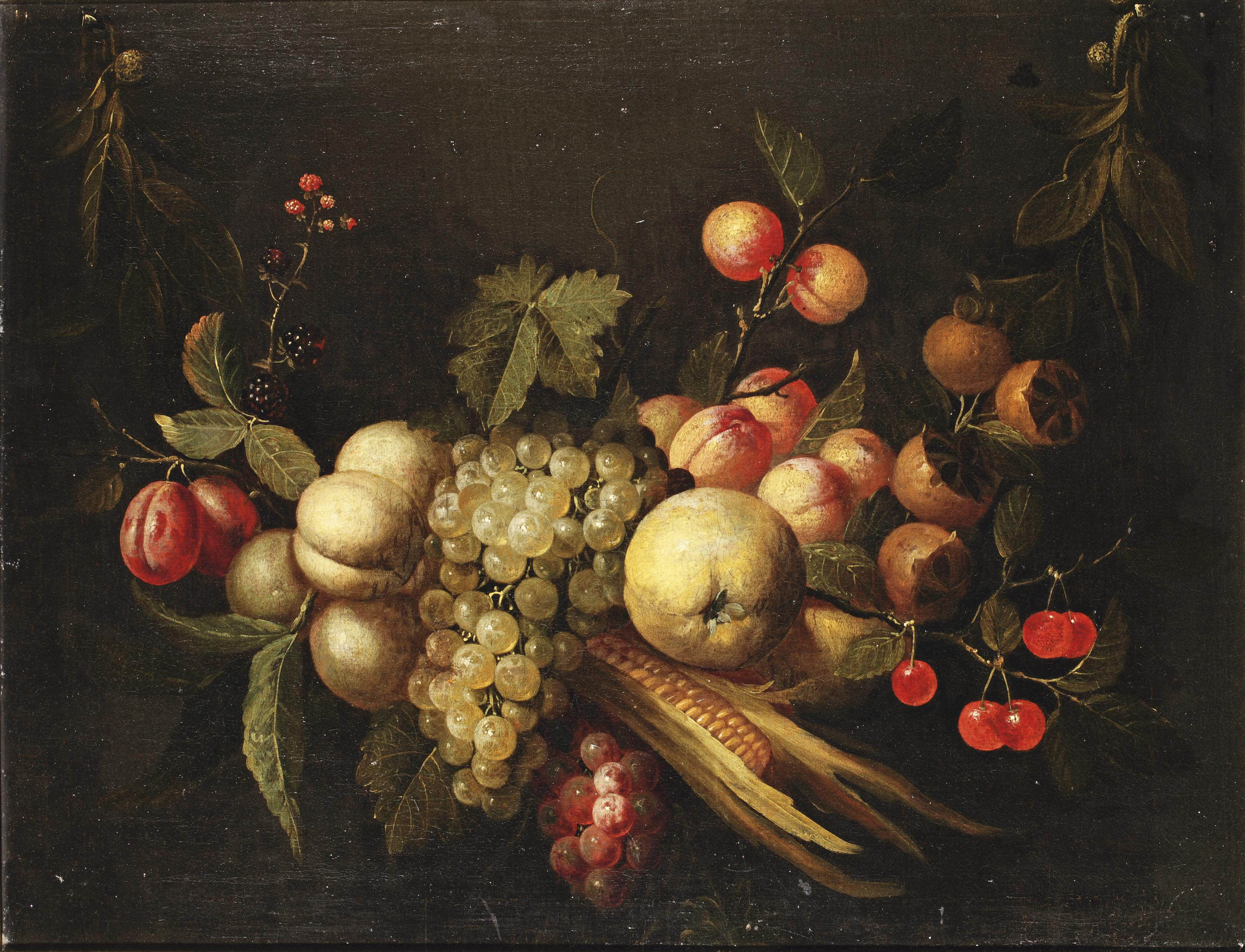 A garland with plums, blackberries, peaches, white and black grapes, a quincy, corn, cherries, apricots and other fruit