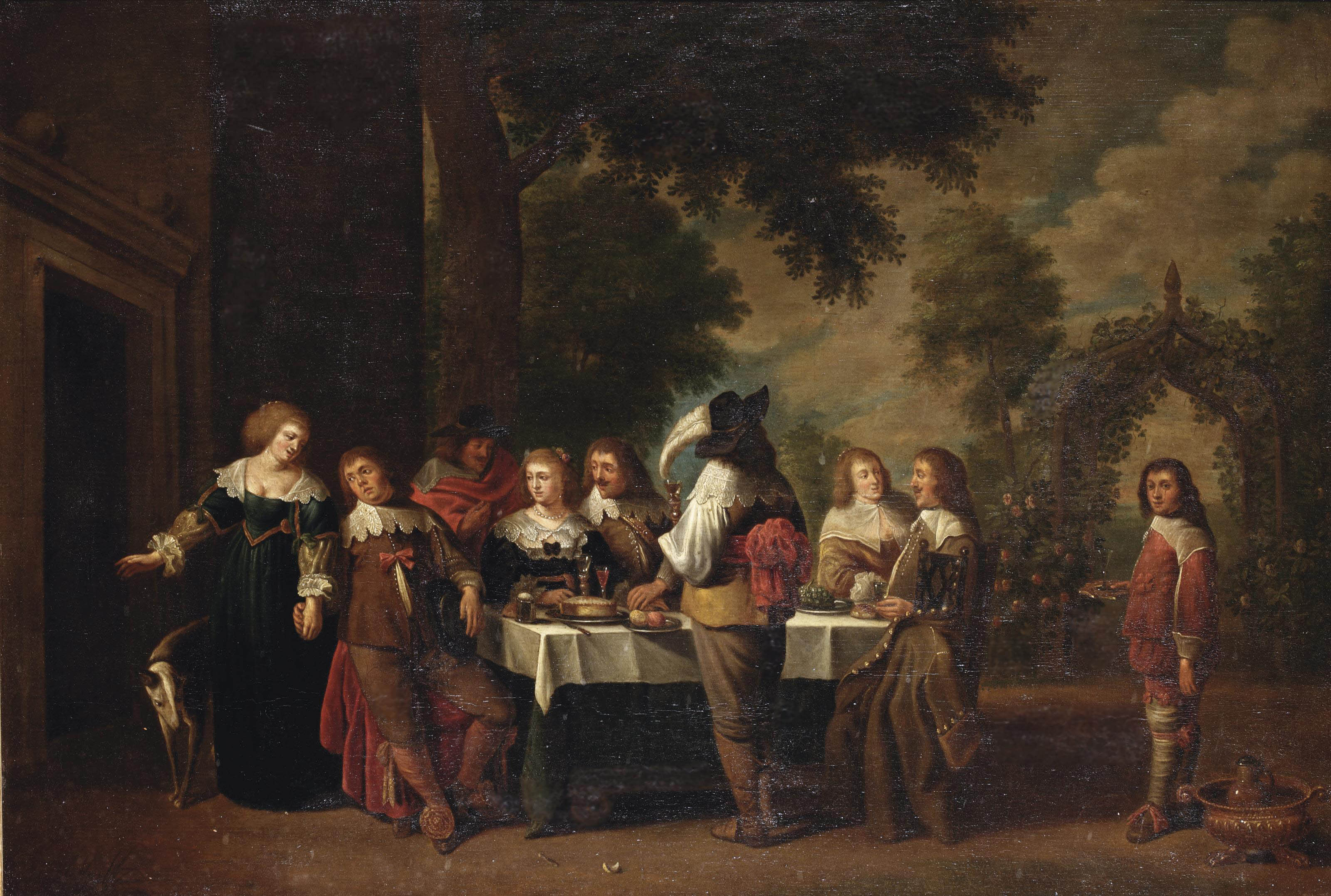 An elegant company dining and making merry in a garden