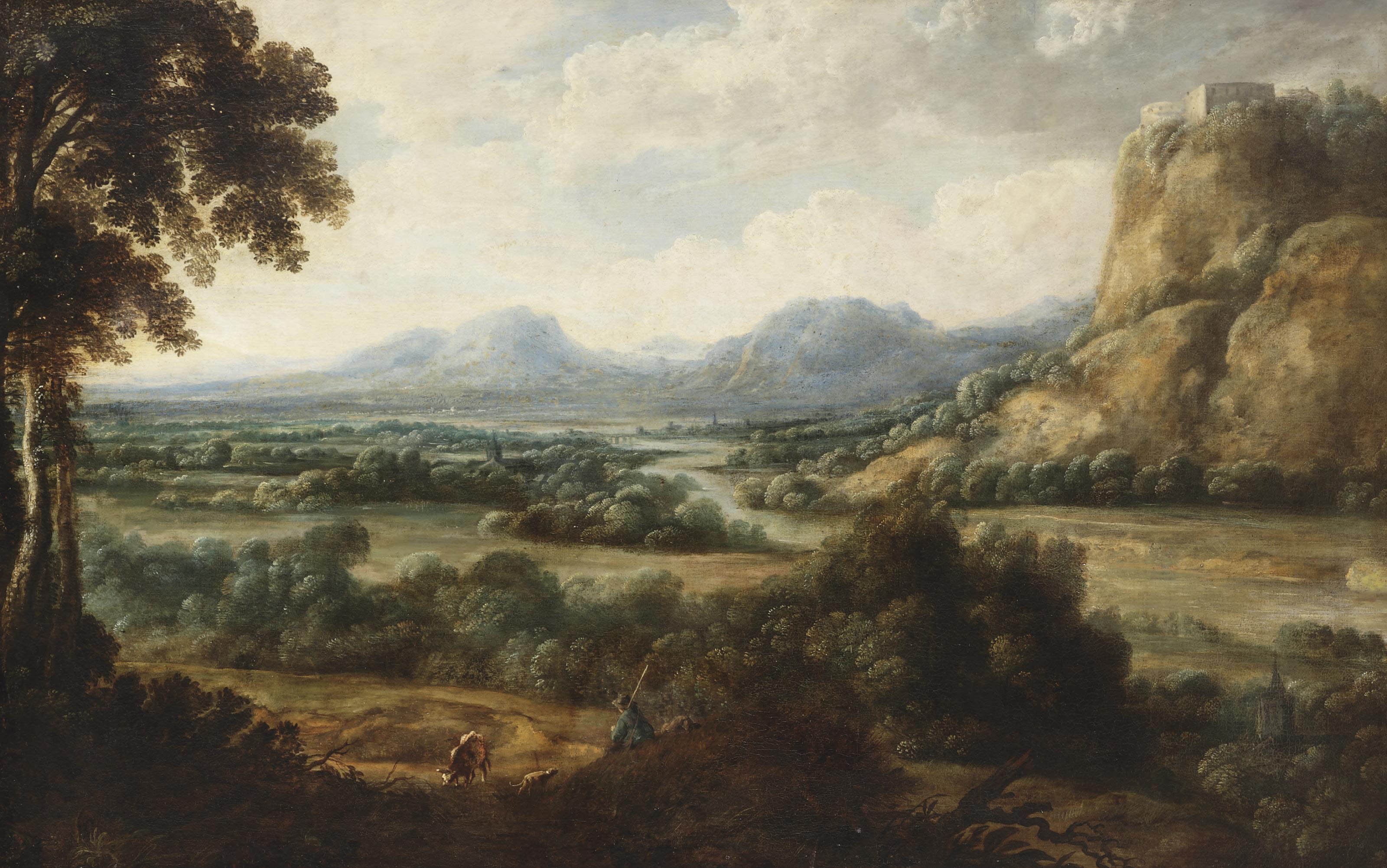 An extensive river landscape with a herdsman resting on a path, mountains beyond