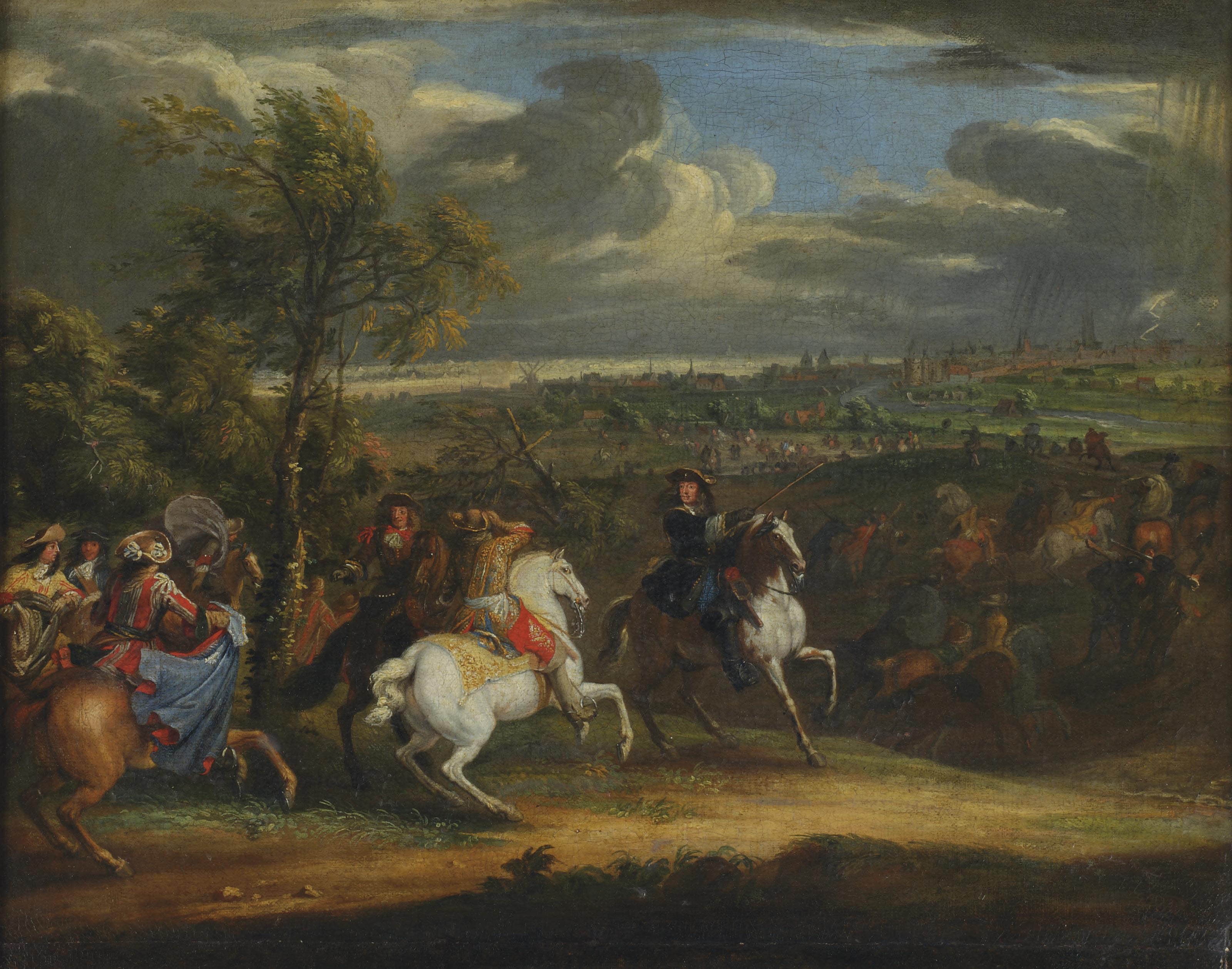Louis XIV with his army at the seige of Courtrai in 1667