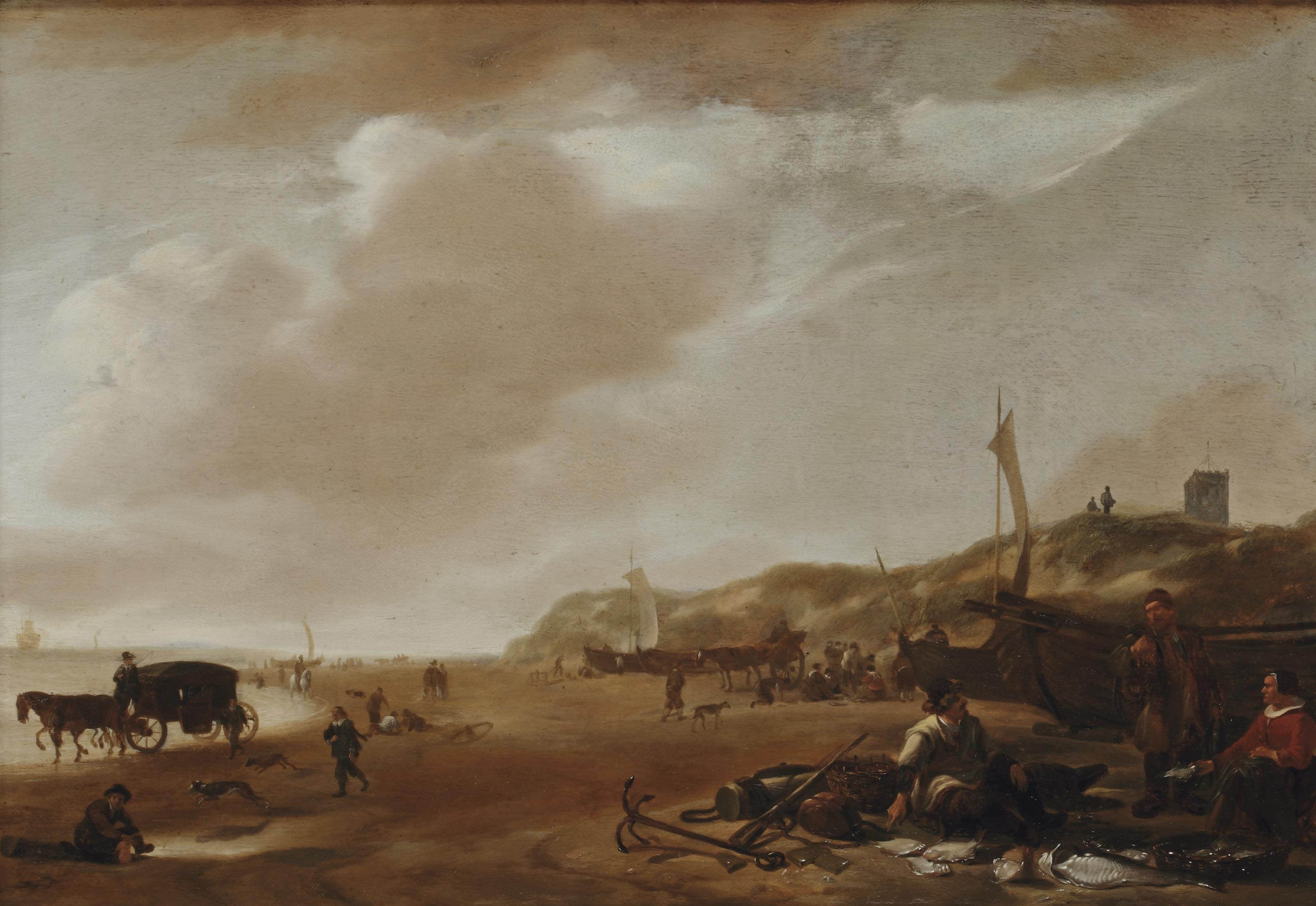 Figures on the beach of Egmond aan Zee, a lady selling fish