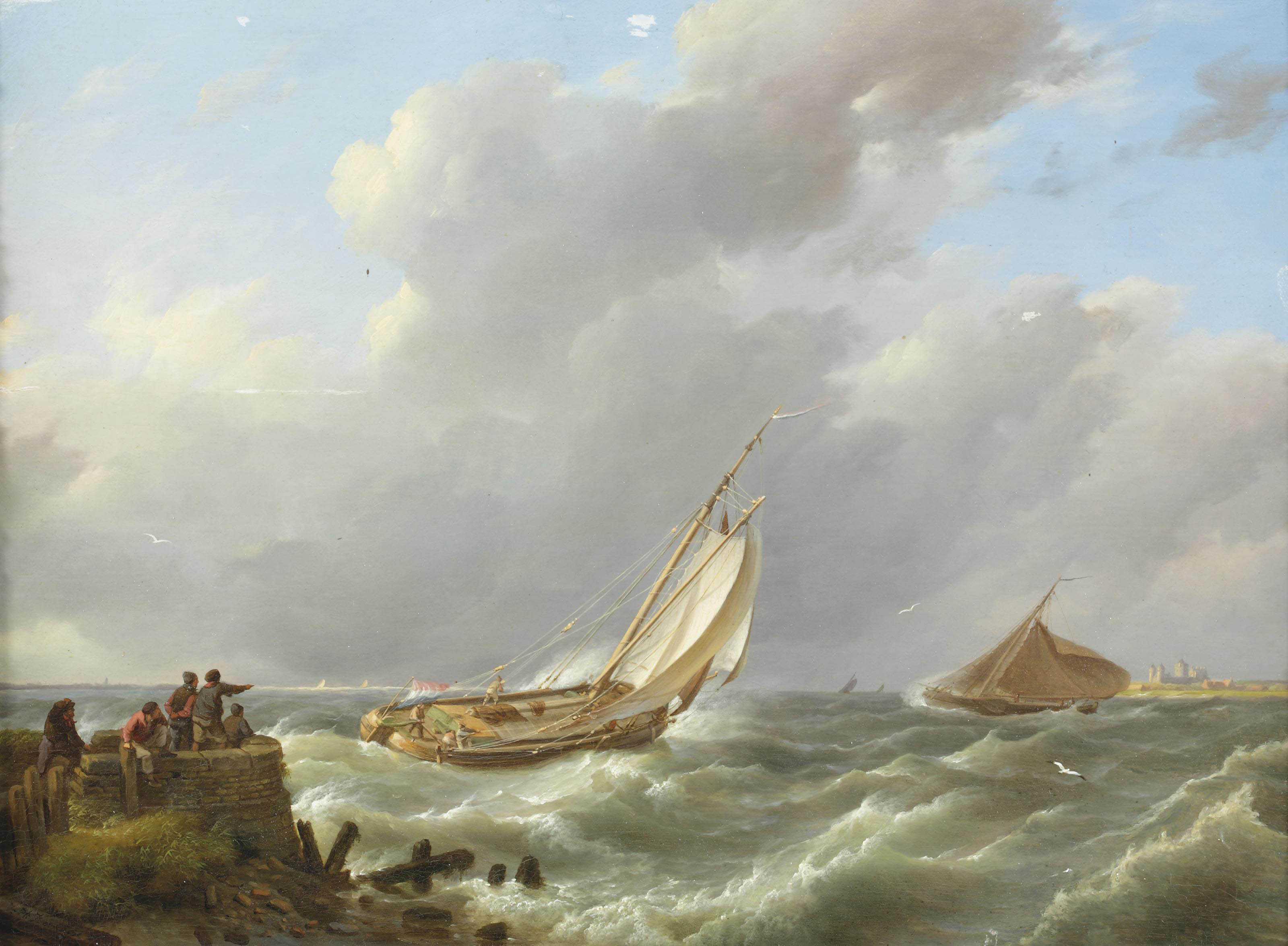 A sailing boat on choppy waters, Muiden in the distance