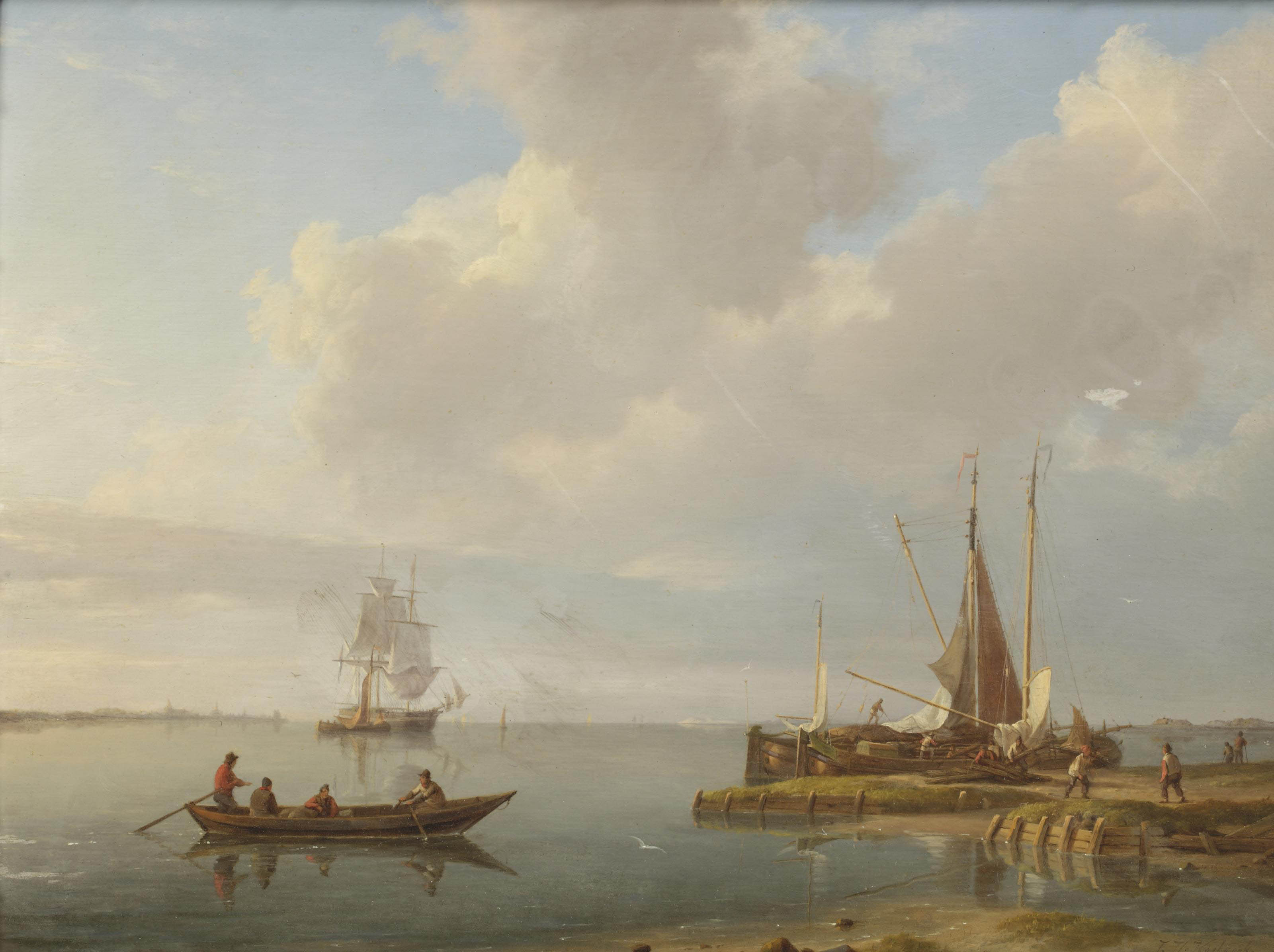 Fishermen and fishing boats on a calm estuary