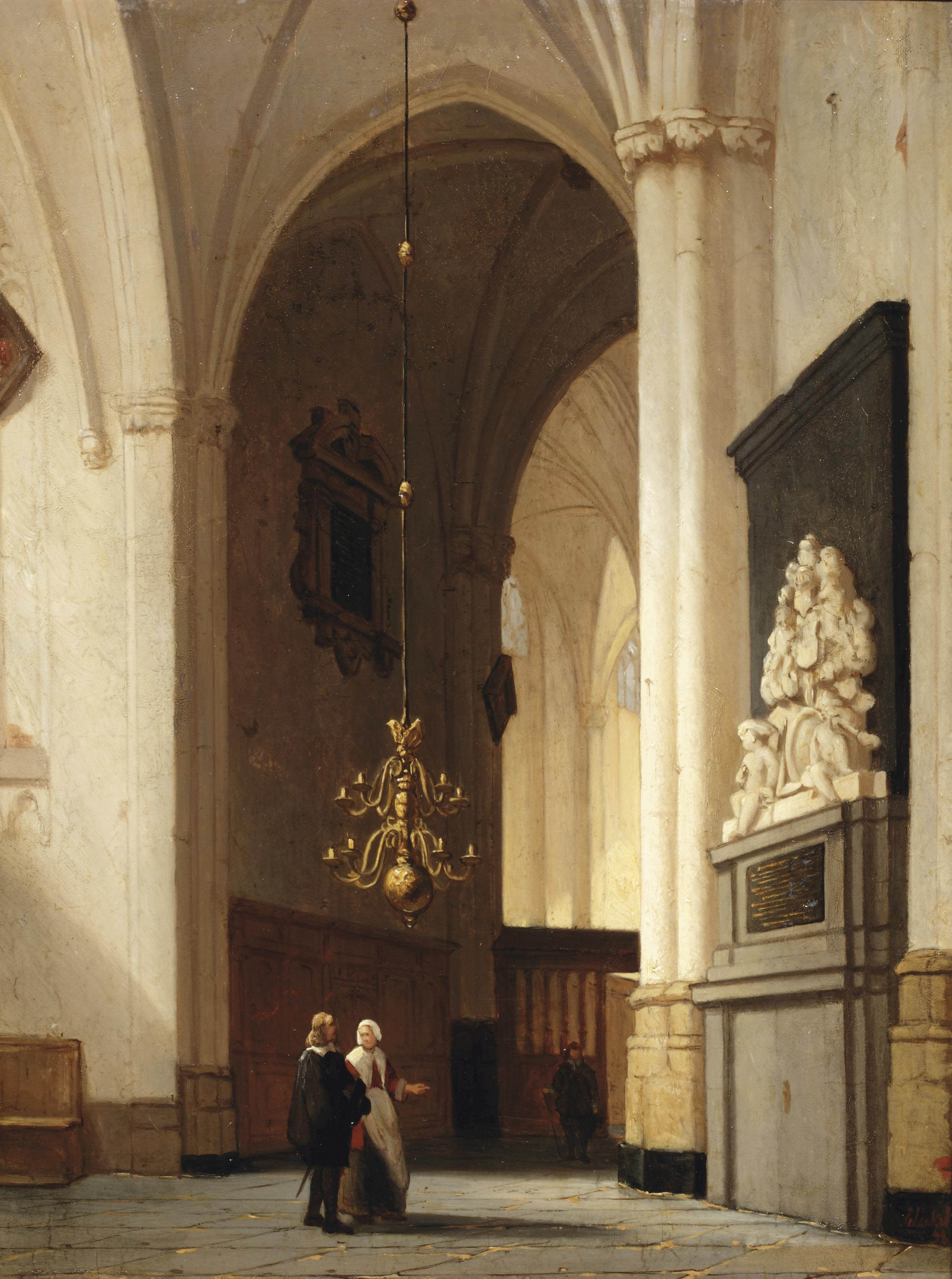Figures in a church interior