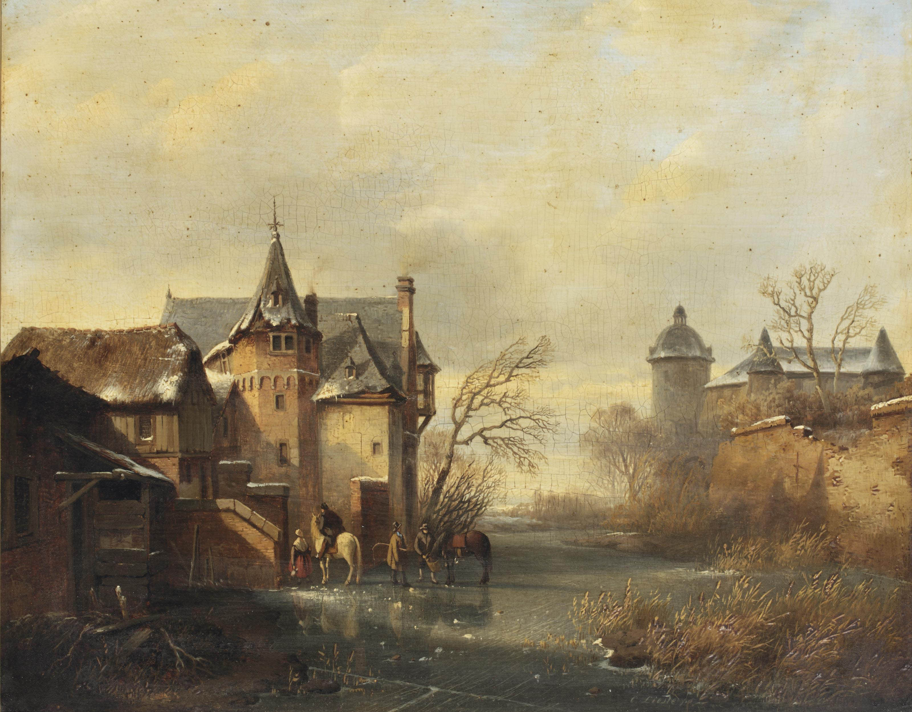 A winter landscape with horses and figures on the ice near a castle