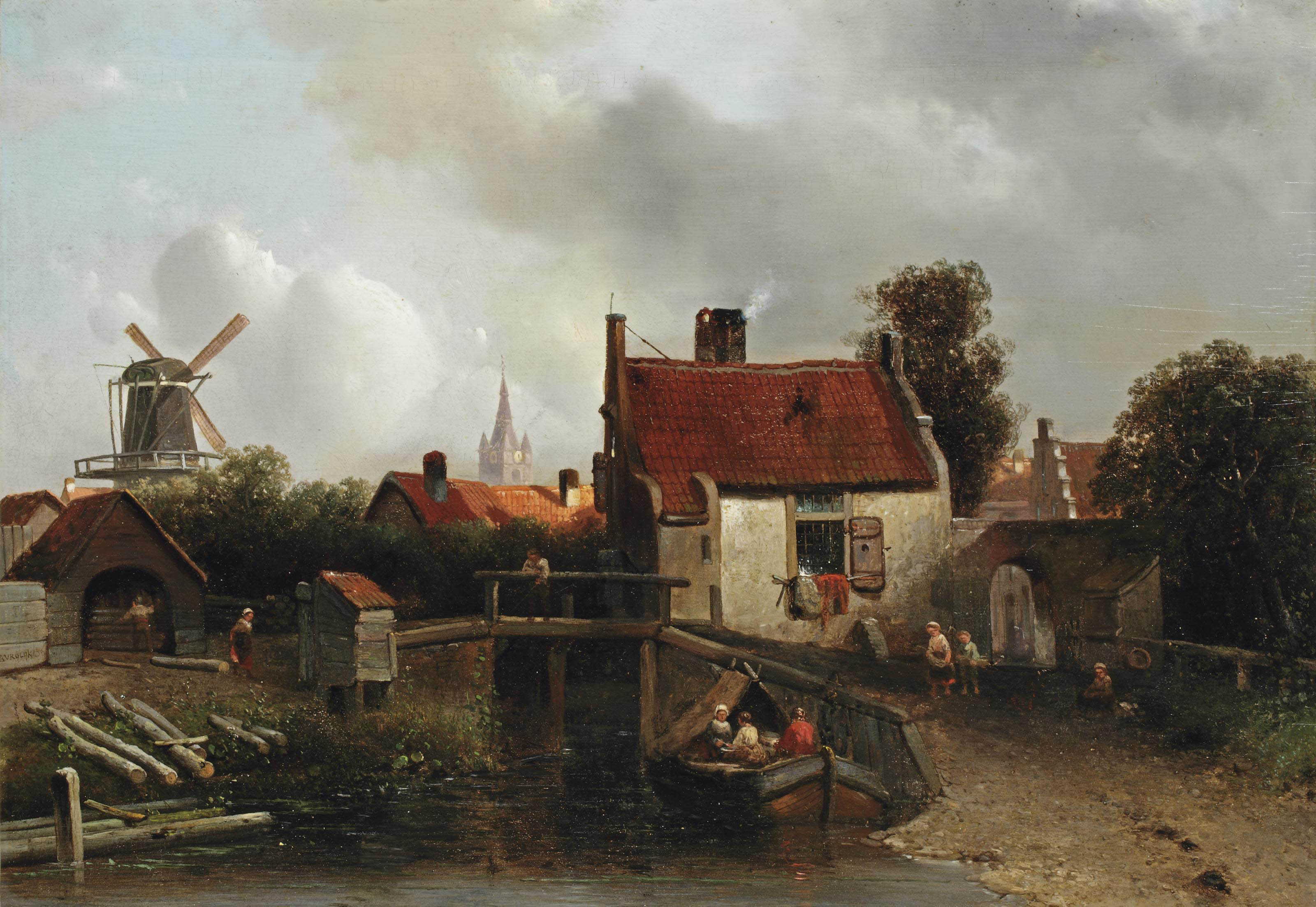 Townspeople on the outskirts of the city of Delft