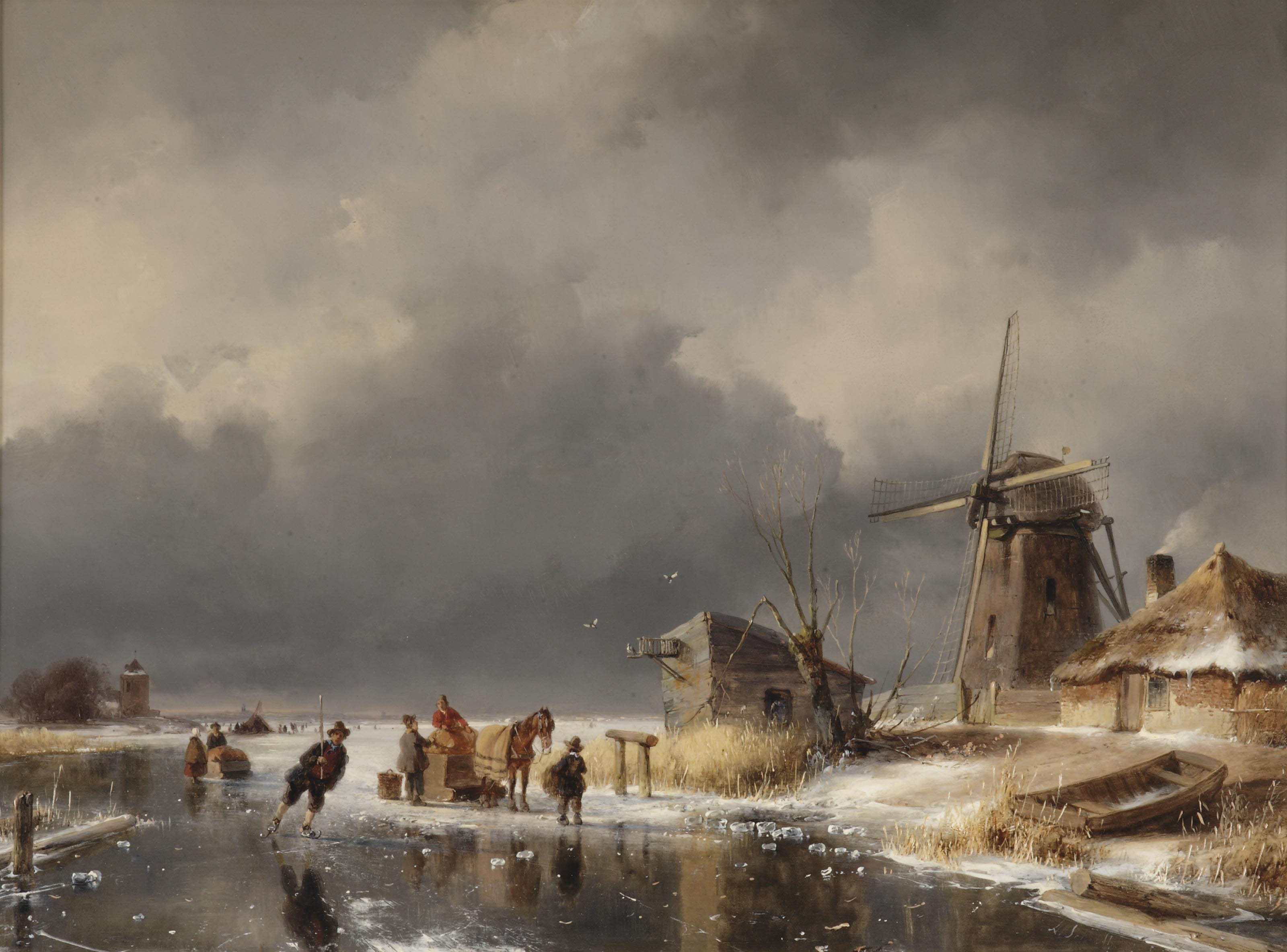 A horse-drawn sleigh and towns people on a frozen waterway