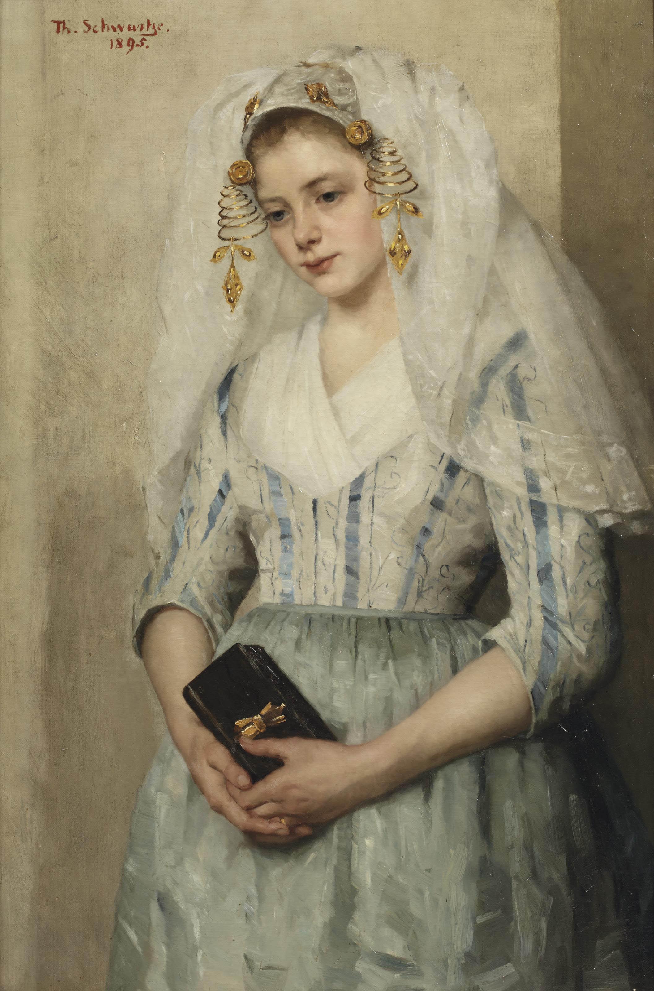 Bruidje uit Oud-Beijerland; portrait of a girl in costume