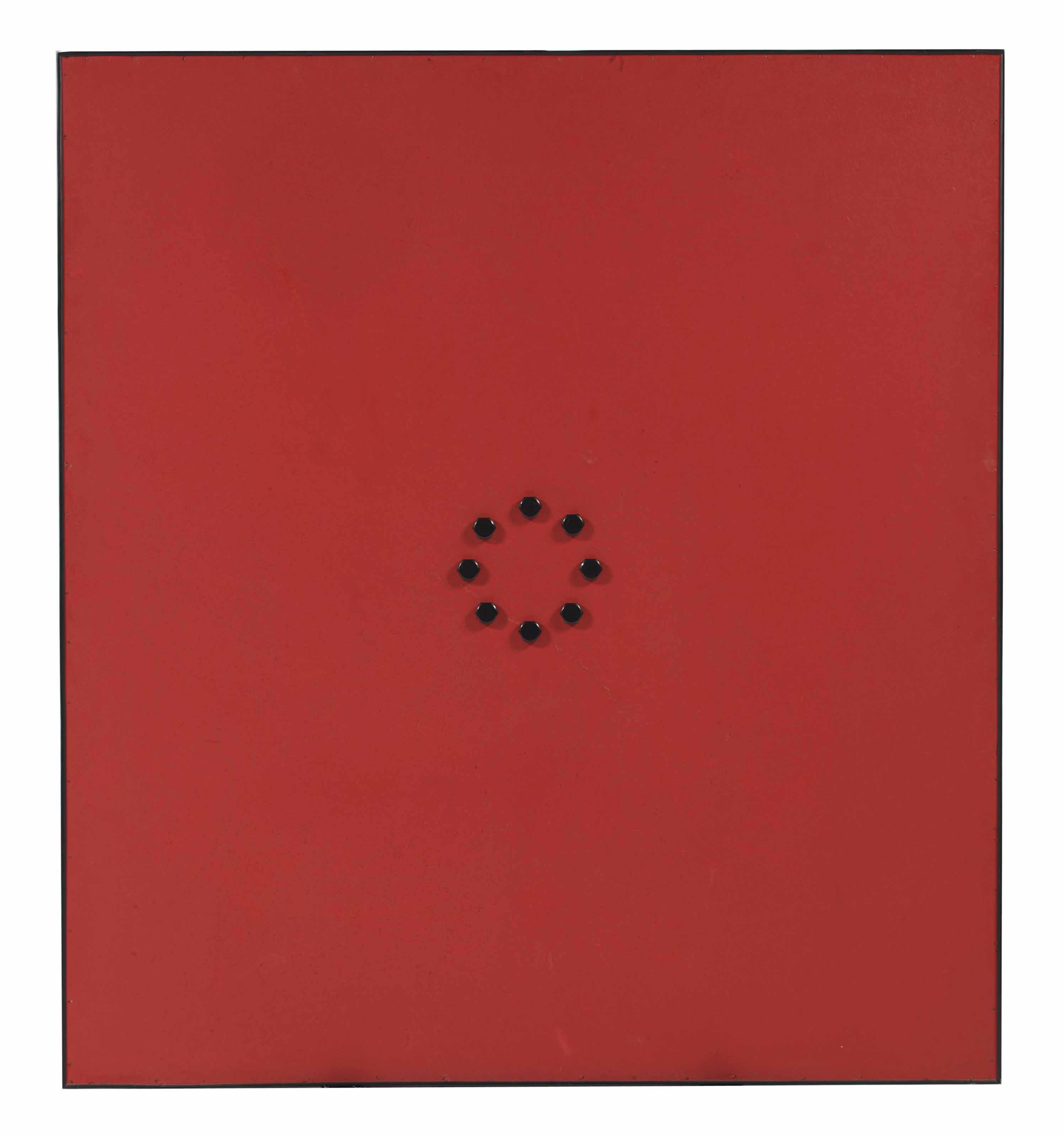 Cirkel 8 (8 black bolts on red)
