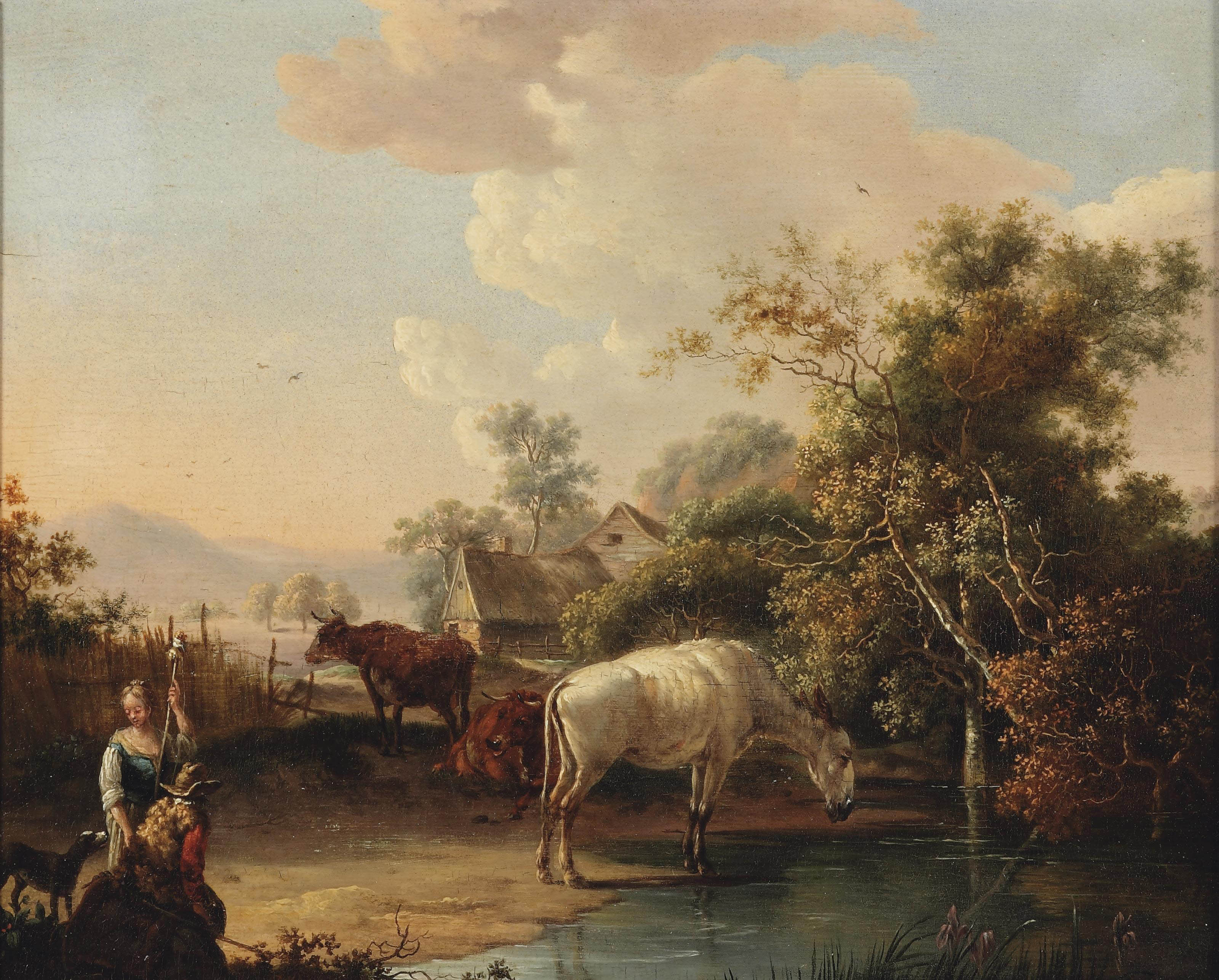 A hilside landscape with figures and cattle on a path, a farmhouse in the distance
