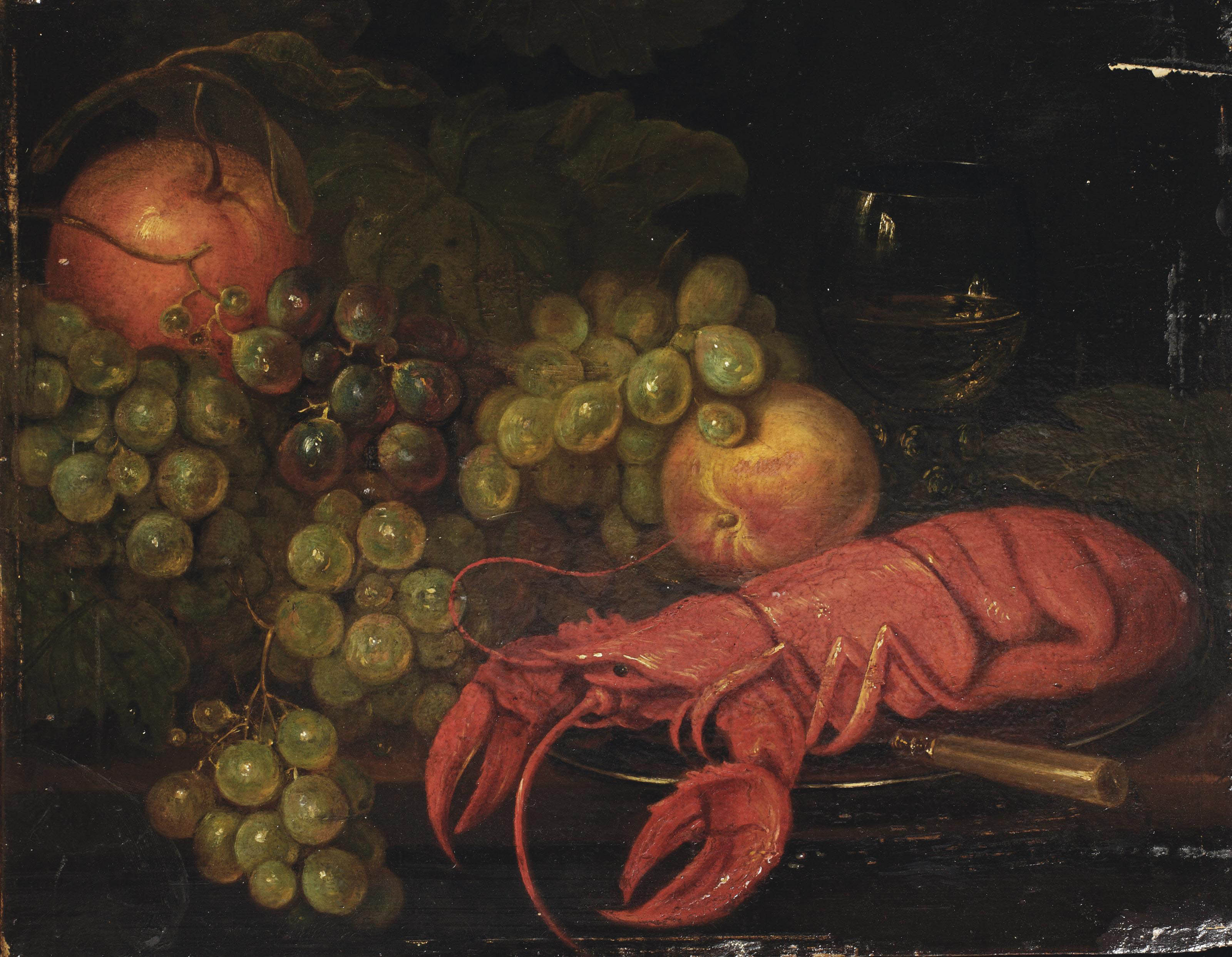 A lobster on a pewter dish, a knife, an apple, a peach, grapes and a roemer, all on a table