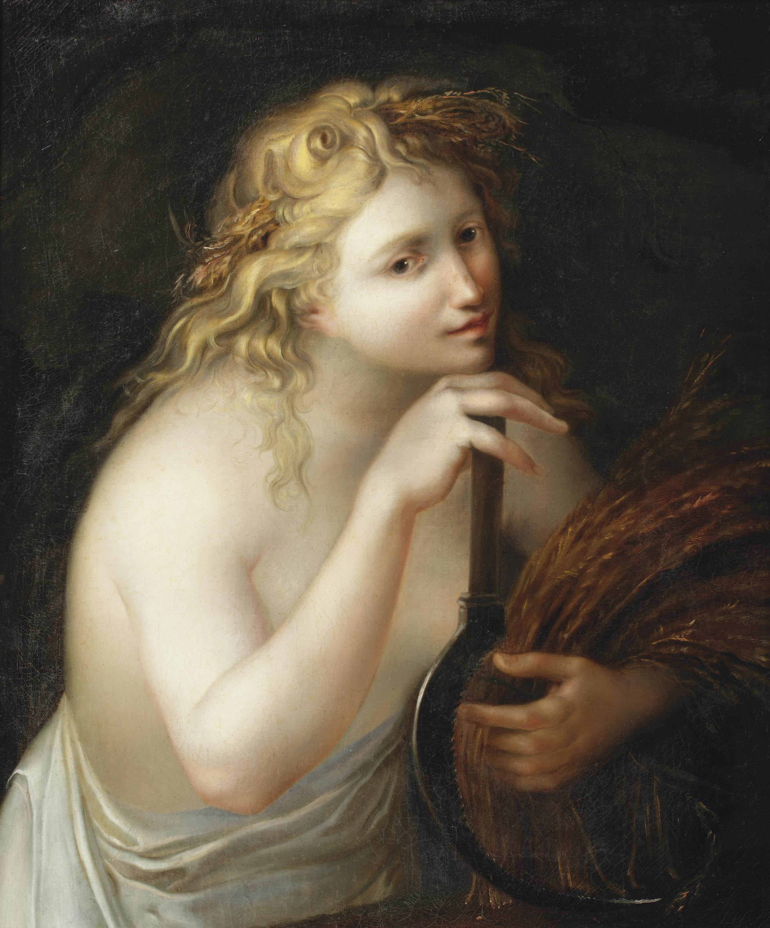 Ceres holding a sheaf of wheat and a scythe