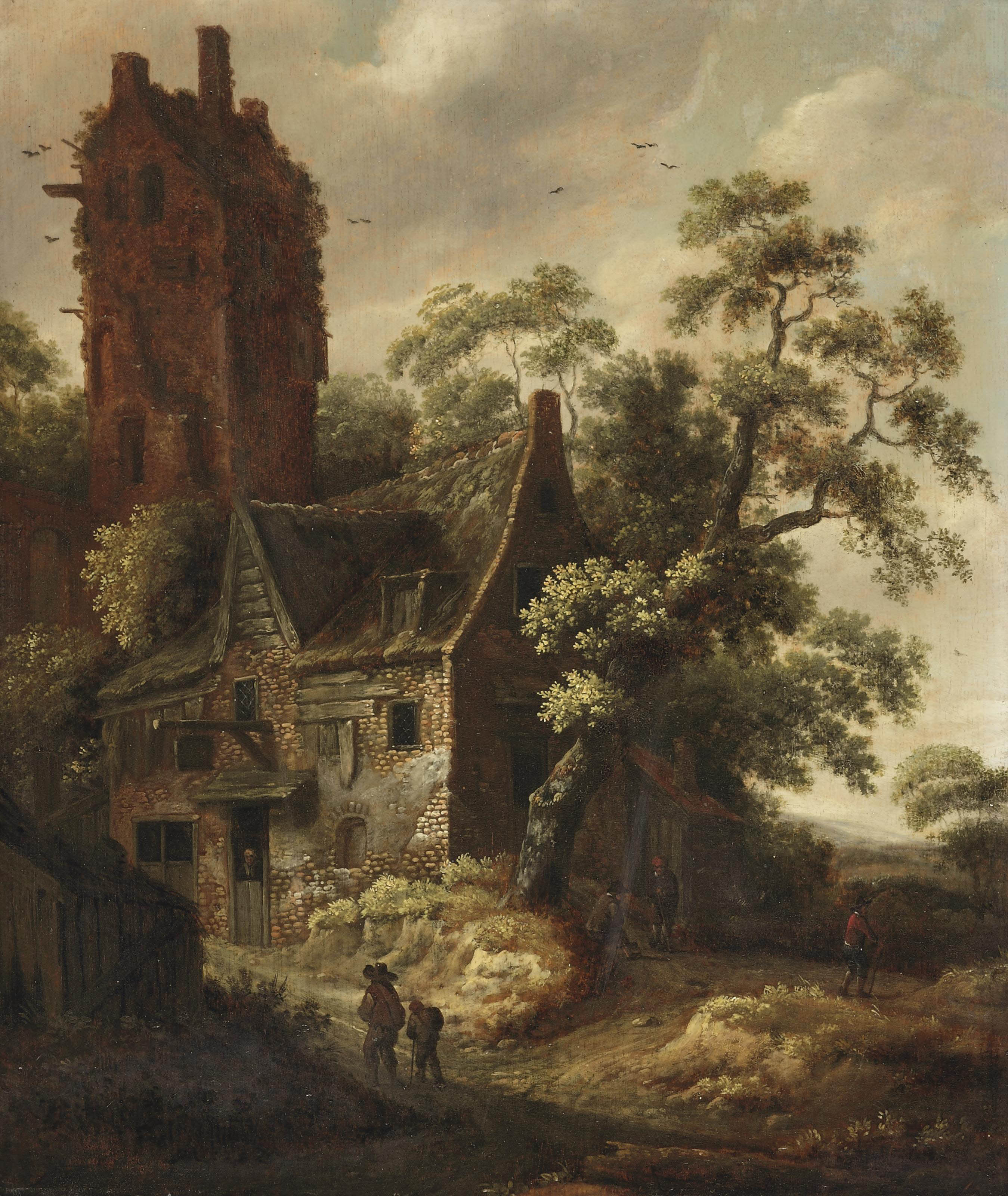 Figures travelling on a path near a cottage, a ruined tower beyond