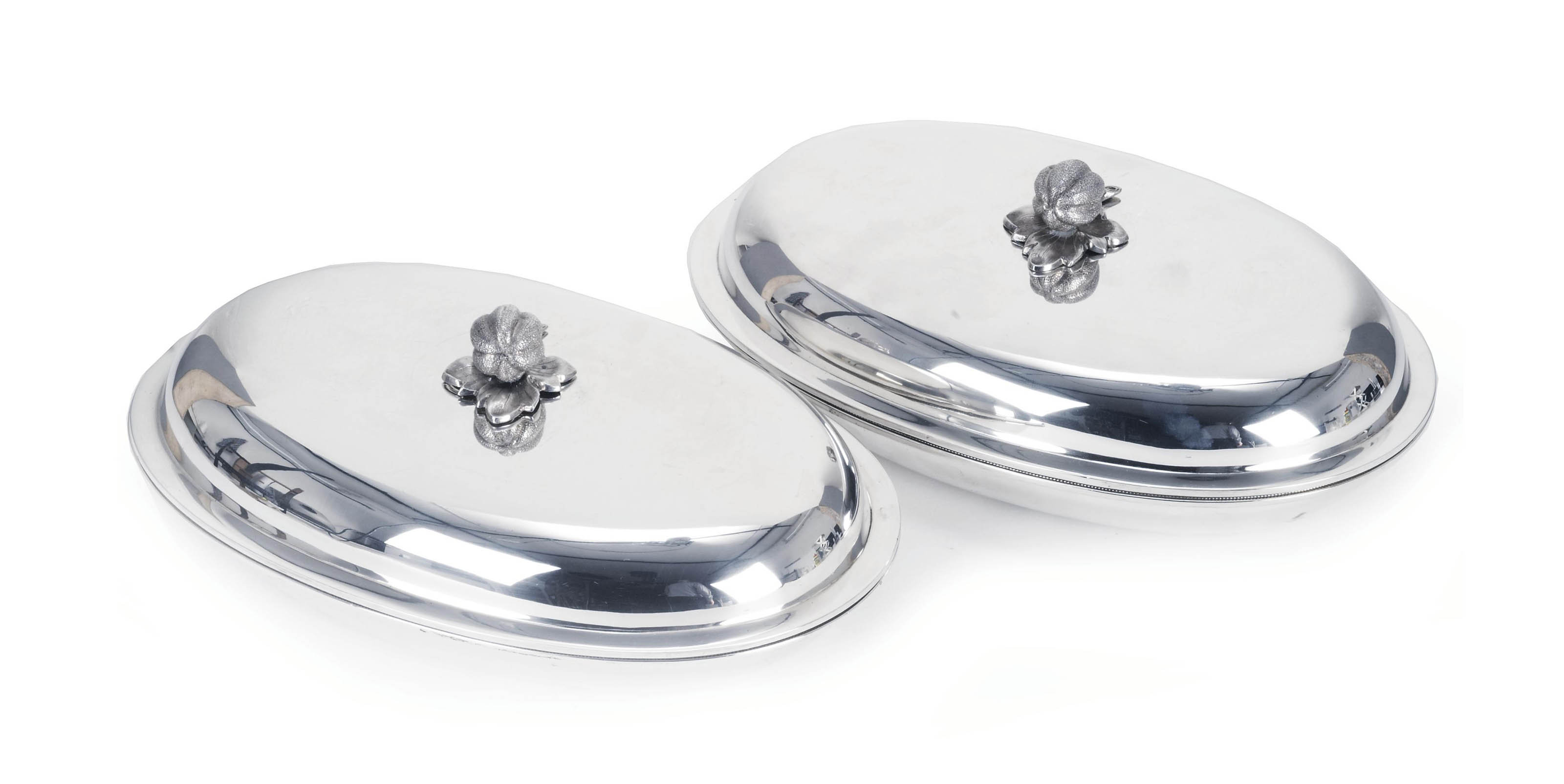 A pair of American silver oval entree dishes and covers