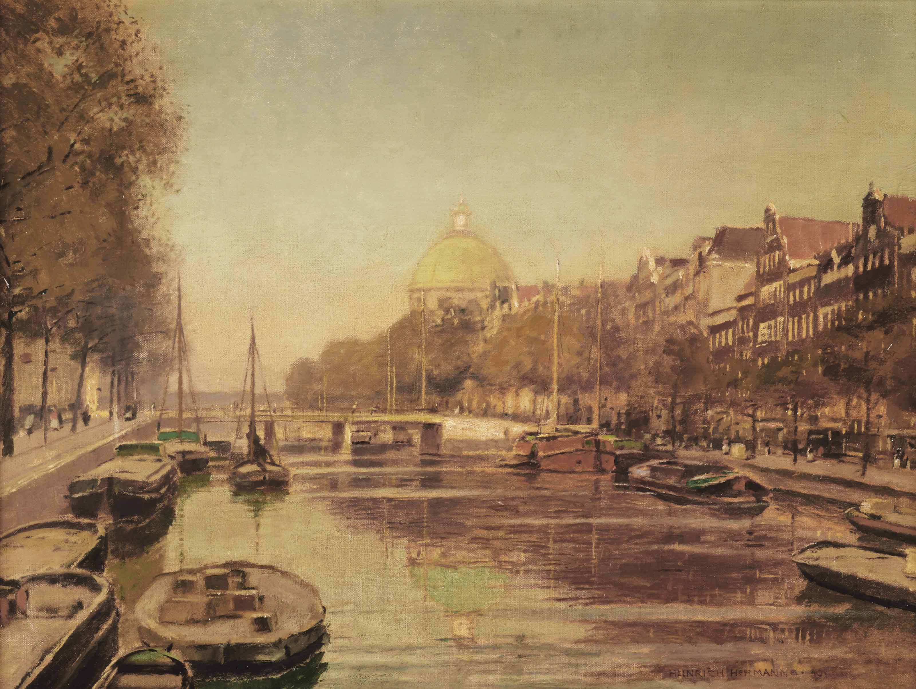 A view of the Singel with the Koepelkerk beyond, Amsterdam
