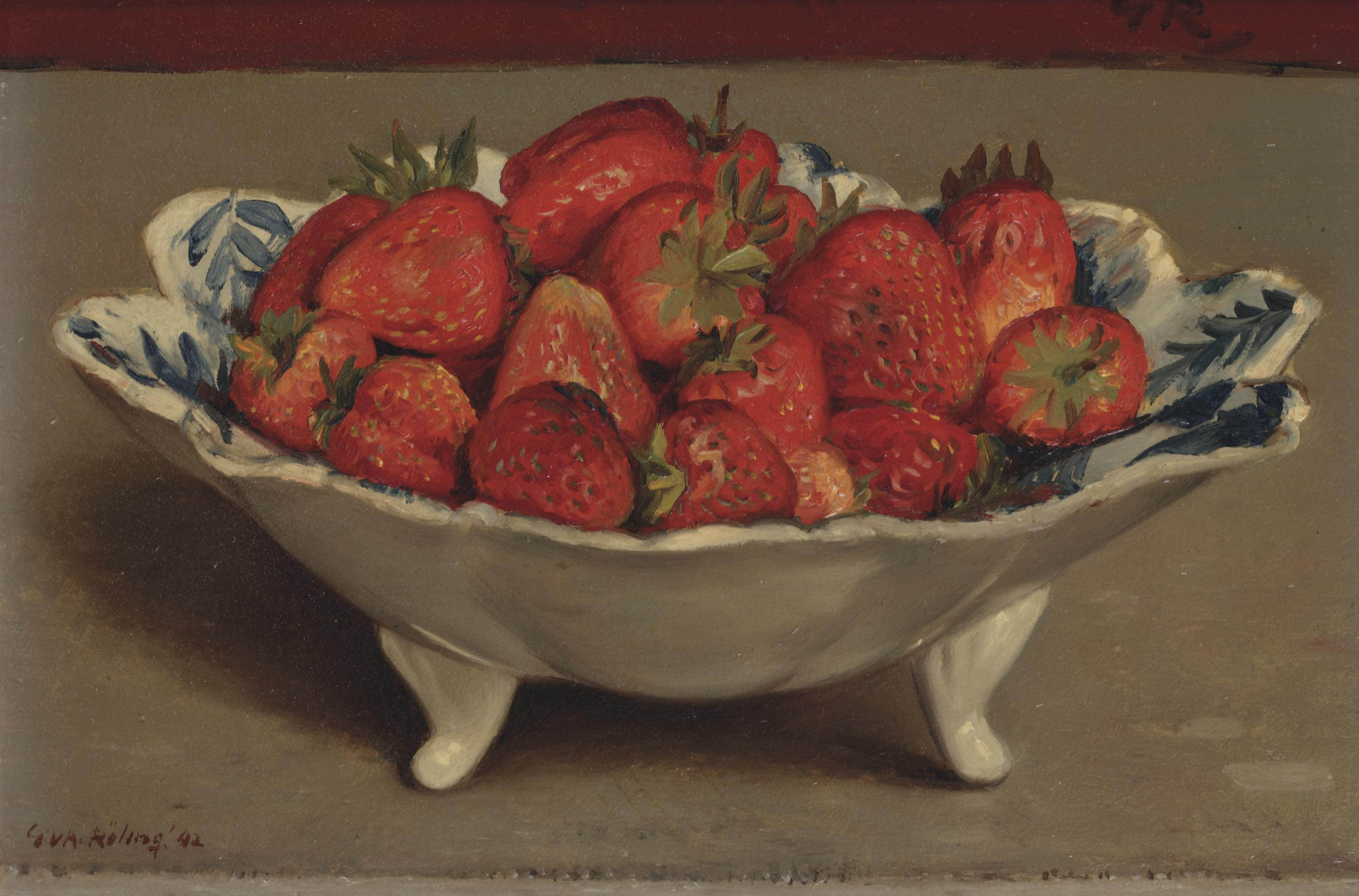 A still life with strawberries