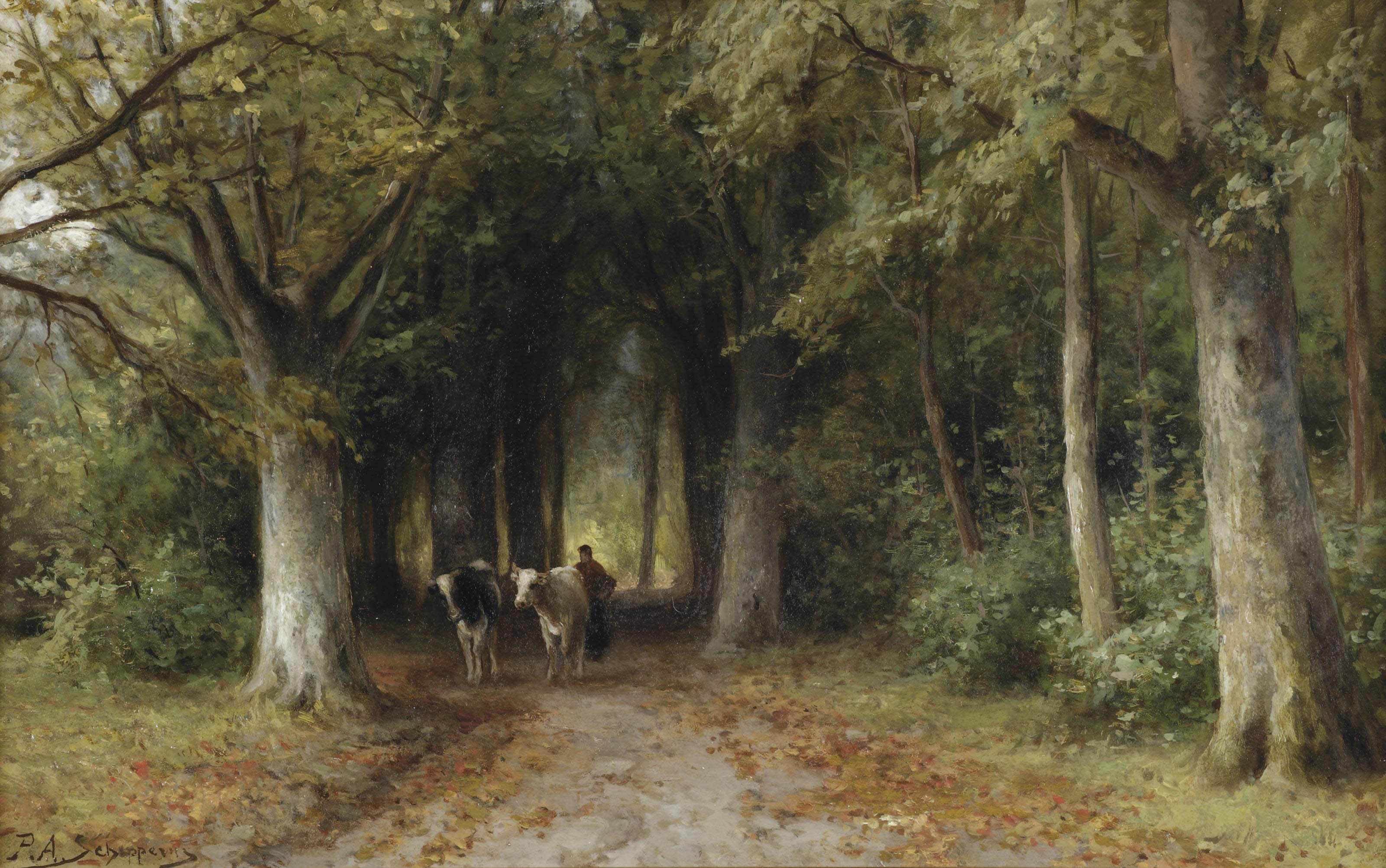 Farmer and cows on a forest track