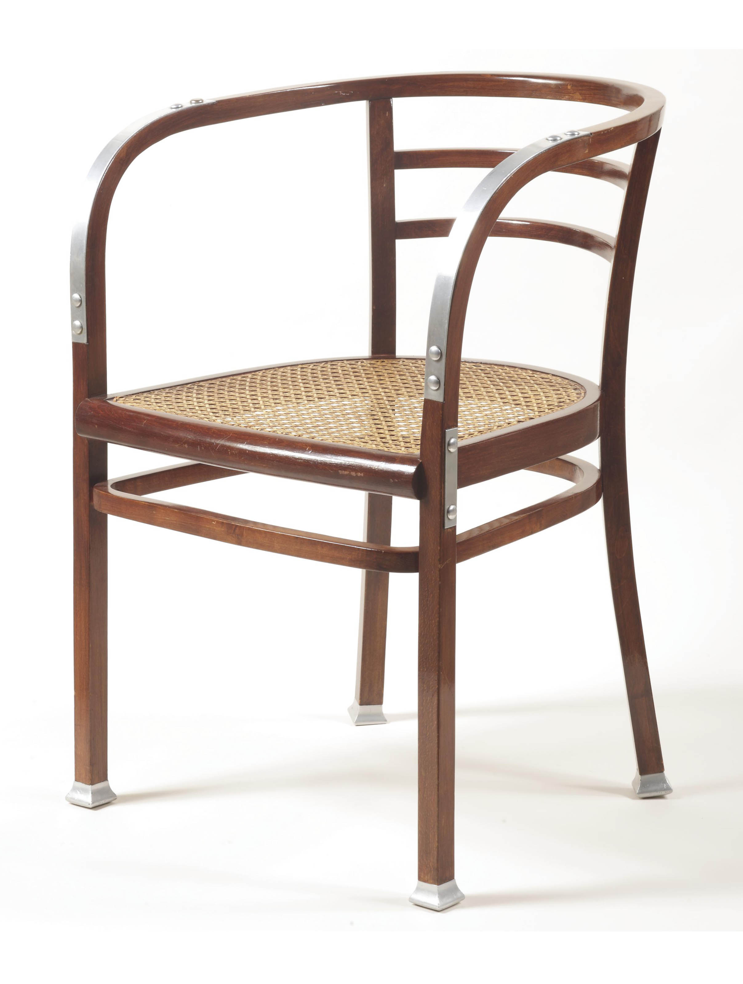 A BENT AND STAINED BEECH, CANE AND NICKELED-METAL ARMCHAIR FROM THE ÖSTERREICHISCHE POSTSPARKASSE