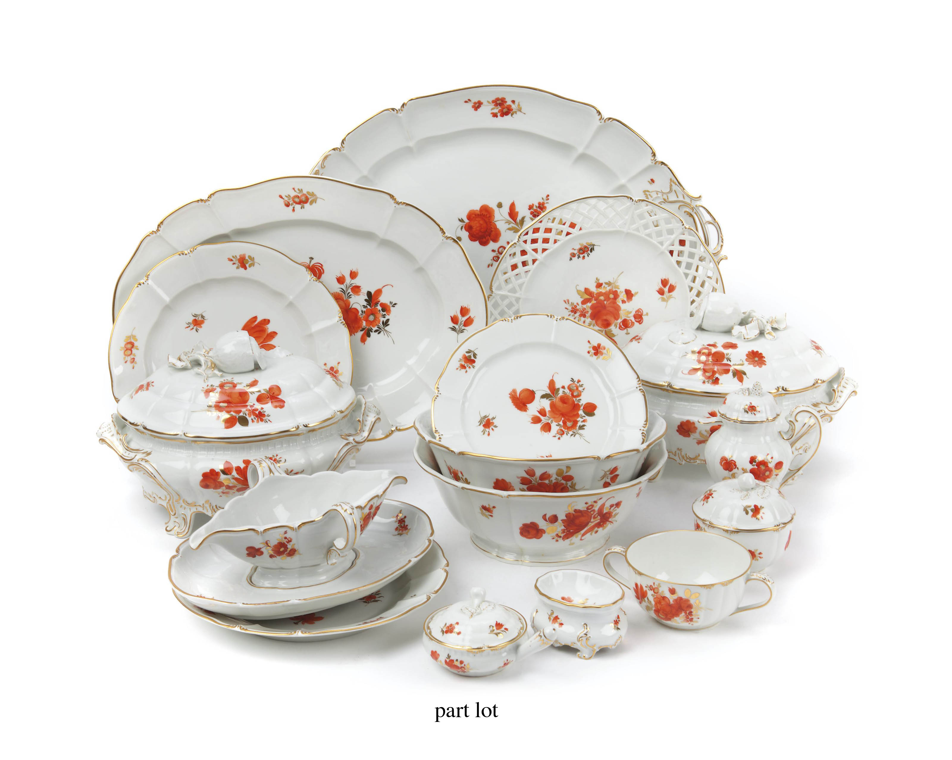 A Nymphenburg floral dinner service