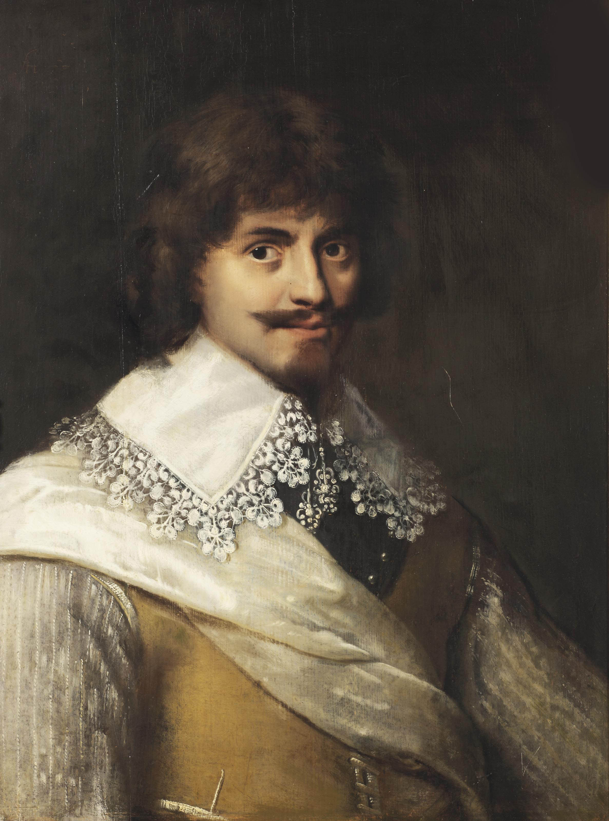 Portrait of a civic guard, half-length, in a buff coat and a gorget, with a white lace collar and a white silk sash