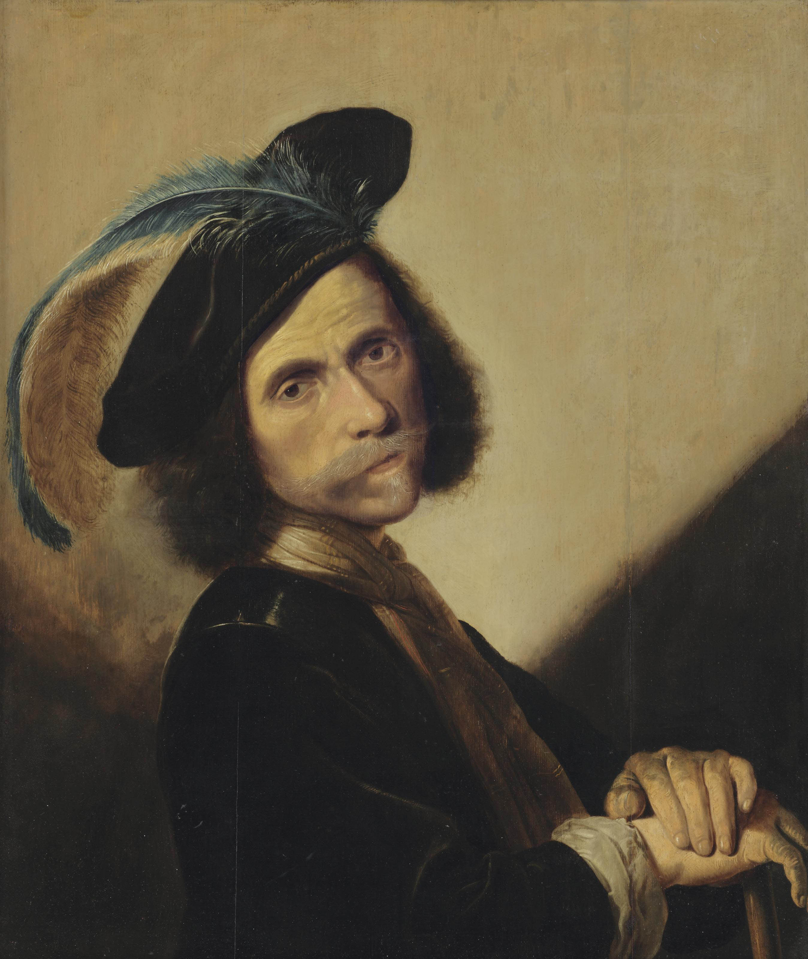 Portrait of a moustachioed man, bust-length, in a black jacket, a feathered beret and a neckcloth, leaning on a cane