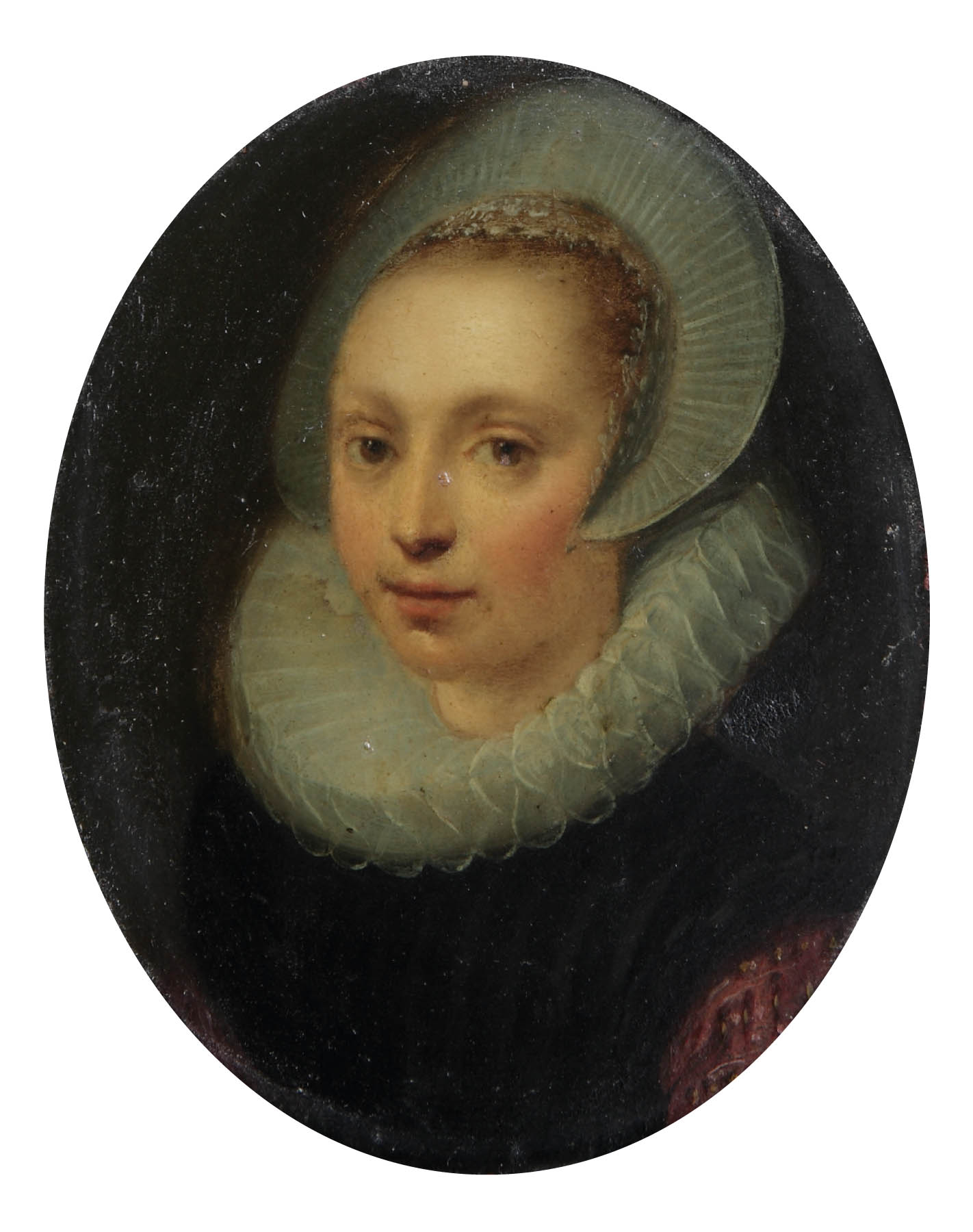 Portrait of a lady, bust-length, in a black and red dress with a white ruff and a lace cap