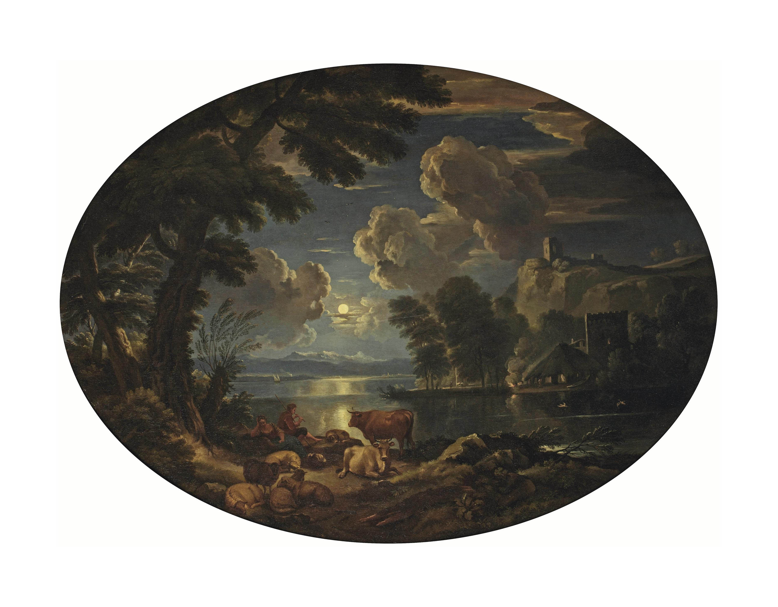 A moonlit river landscape with shepherds by a the river bank