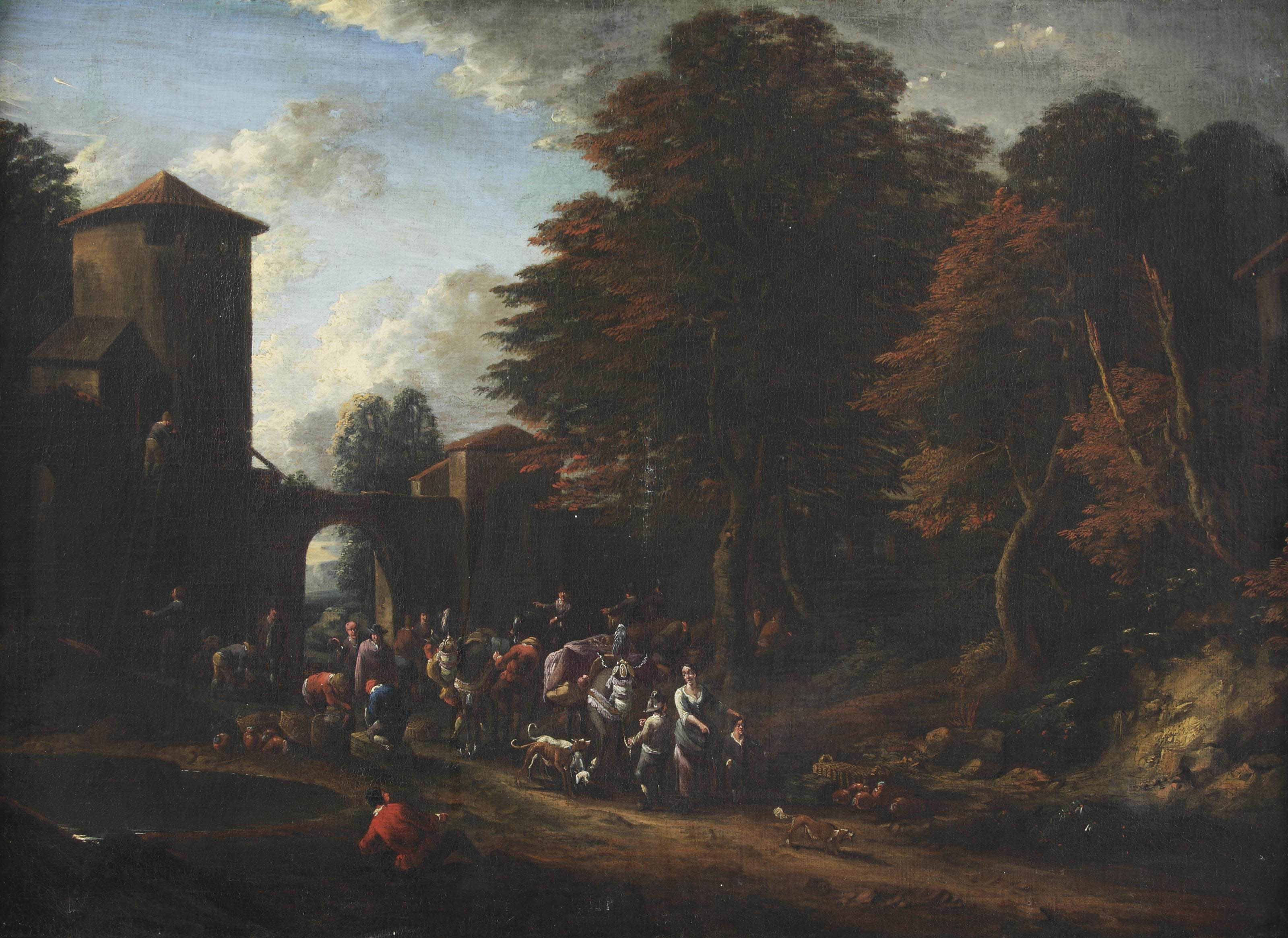 A wooded landscape with merchants near a village gate