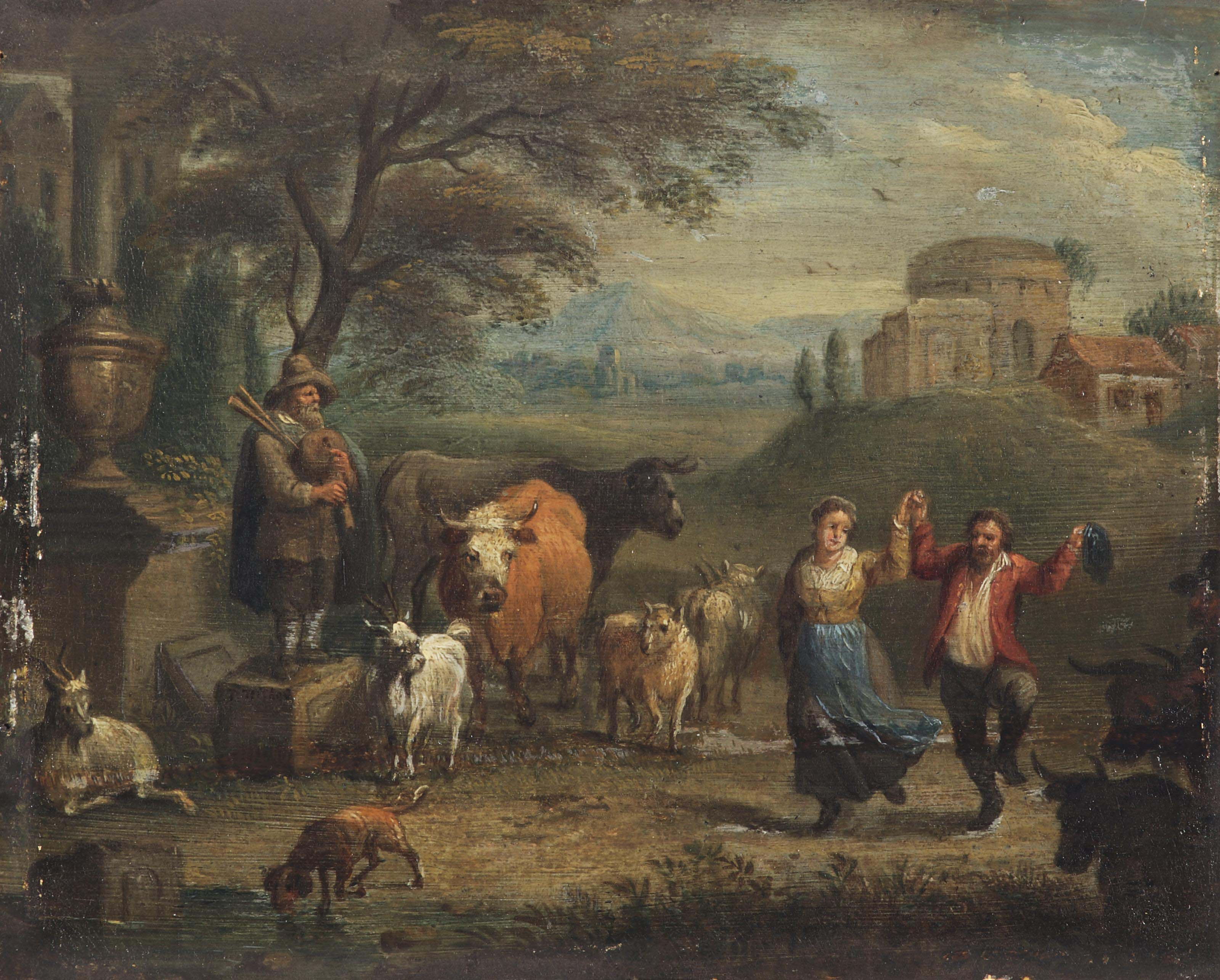 A landscape with a dancing peasant couple and cattle, classical ruins beyond