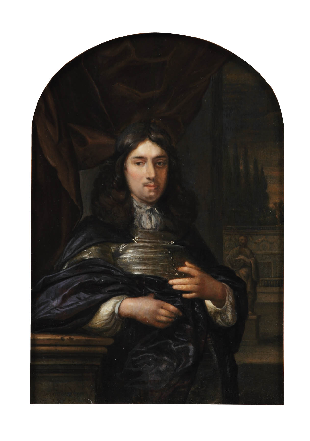 Portrait of a gentleman leaning on a ballustrade, three-quarter-length, in a dark blue coat, before a red curtain, a garden with statues beyond
