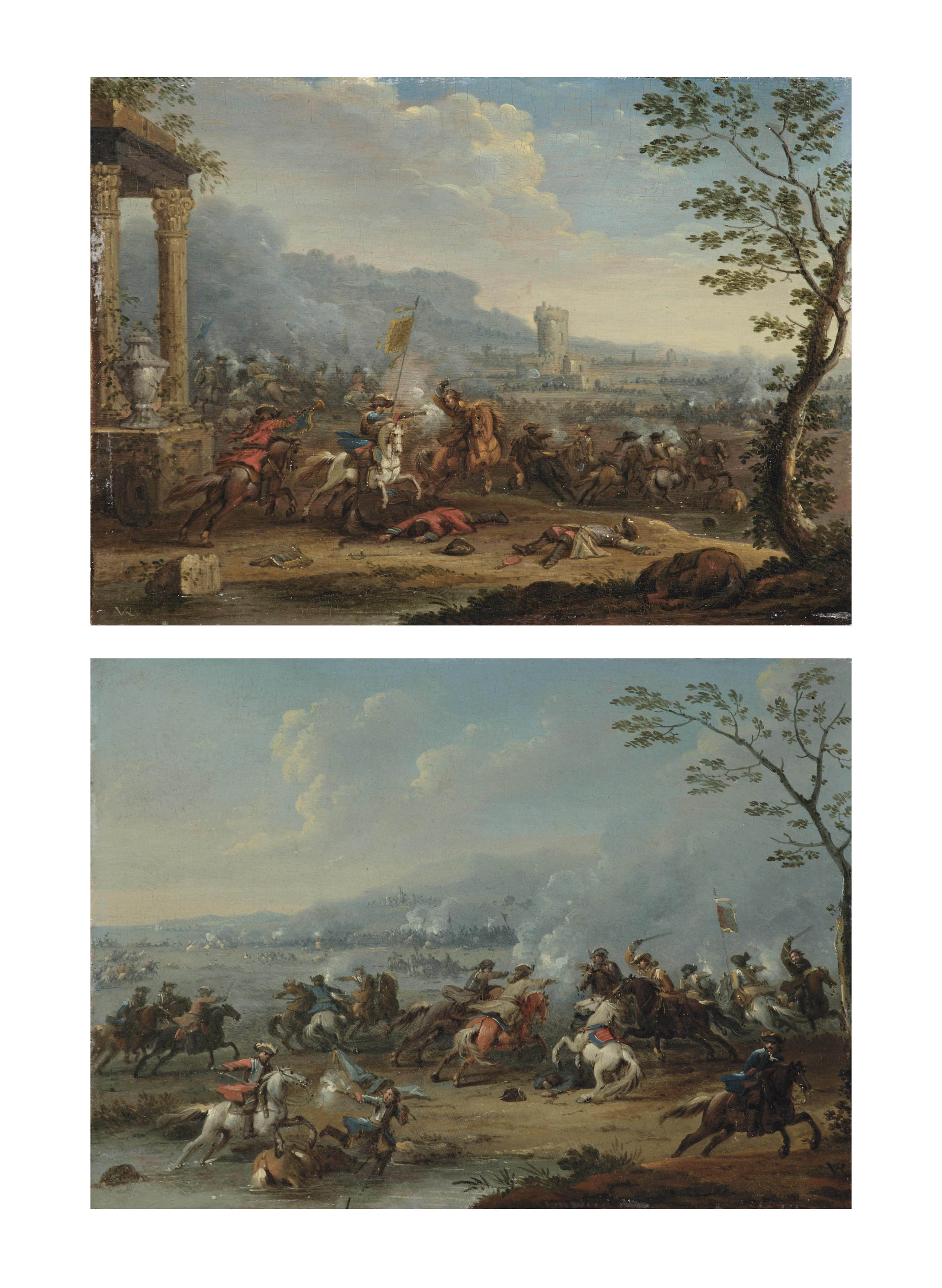 A cavalry skirmish near classical ruins; and A cavalry skirmish in an extensive landscape