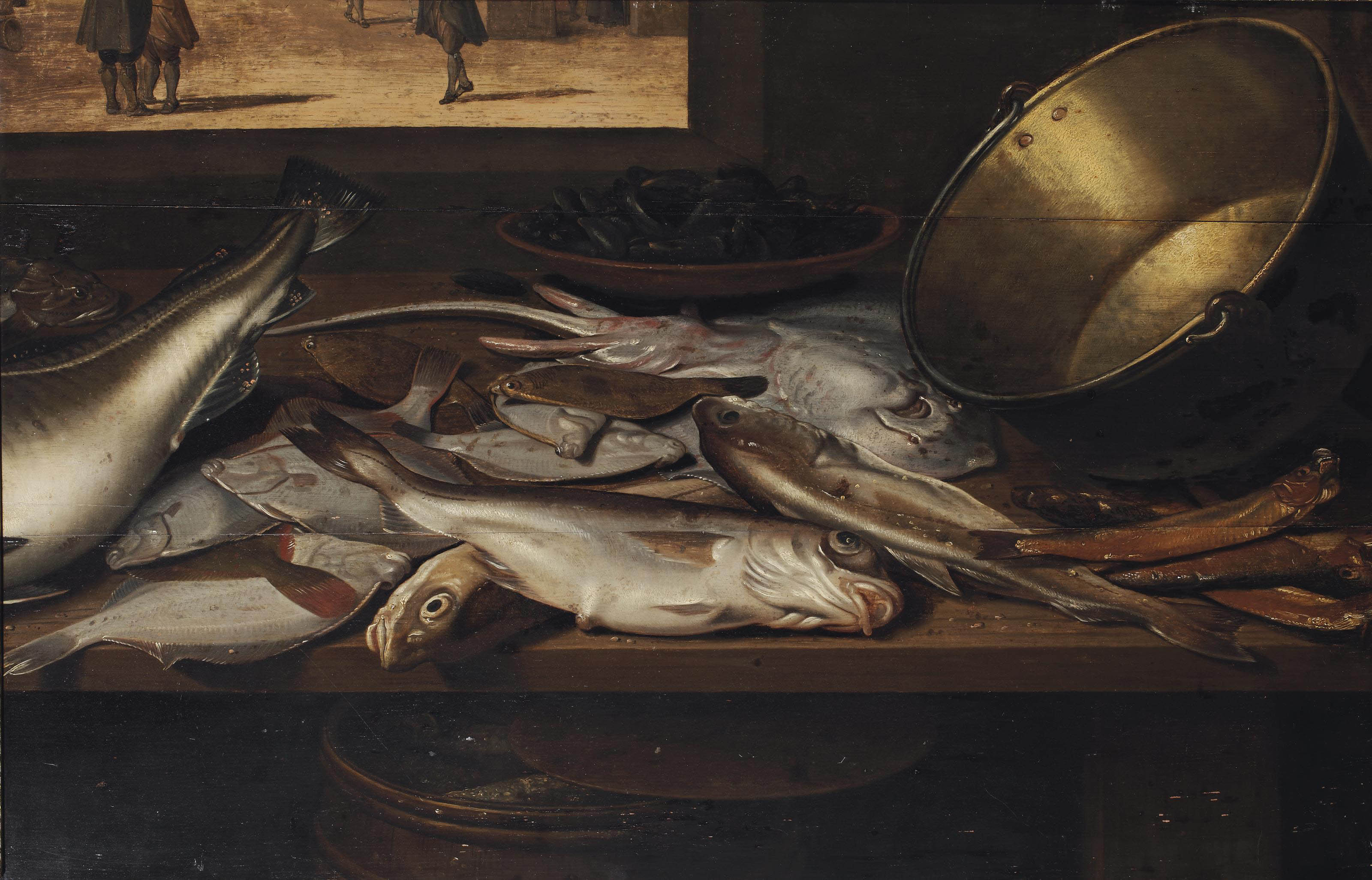 A stingray, soles, herrings and other fish with a bowl of mussels and a copper pot, all on a wooden table
