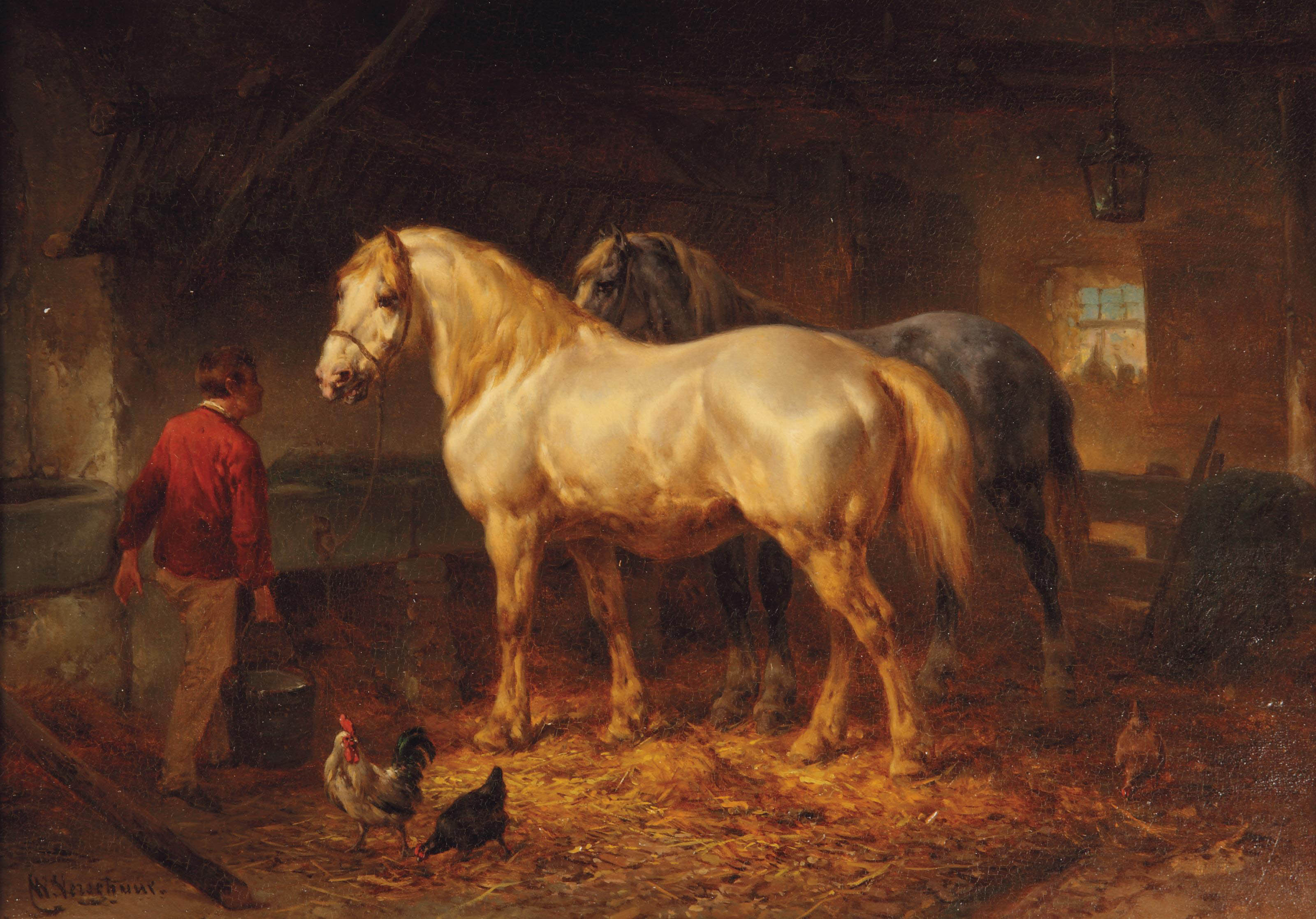 Tending to the horses