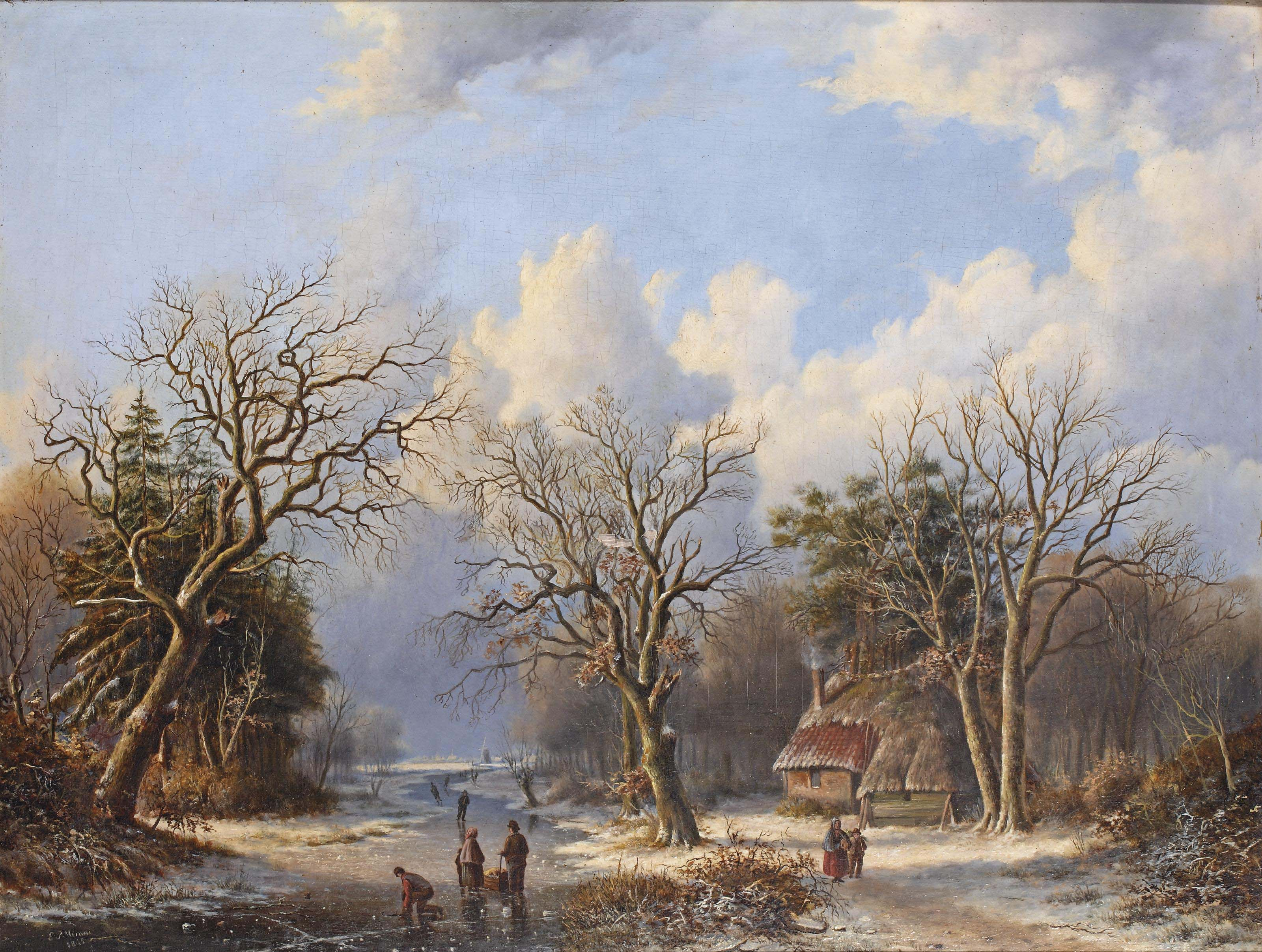 A wooded landcape with skaters on the ice, a farm on the river bank