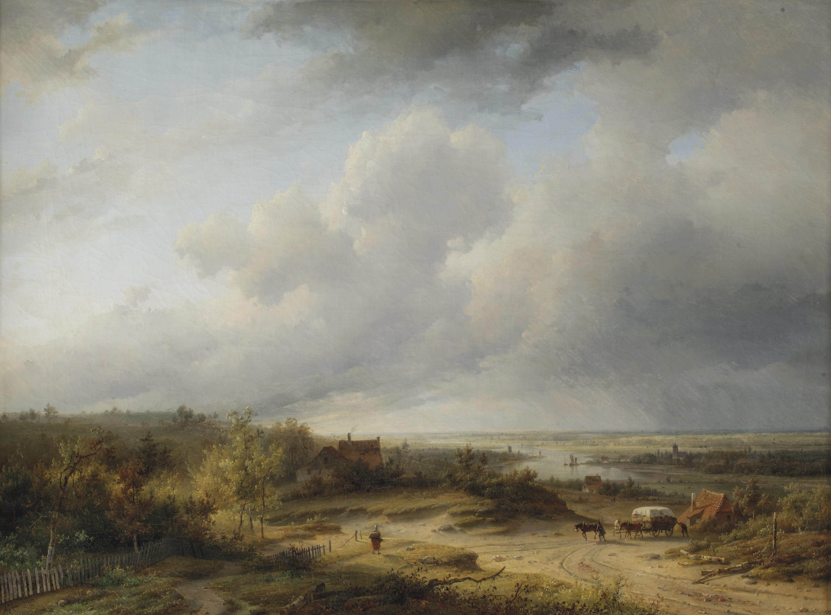 A riverlandscape with a horse-drawn cart