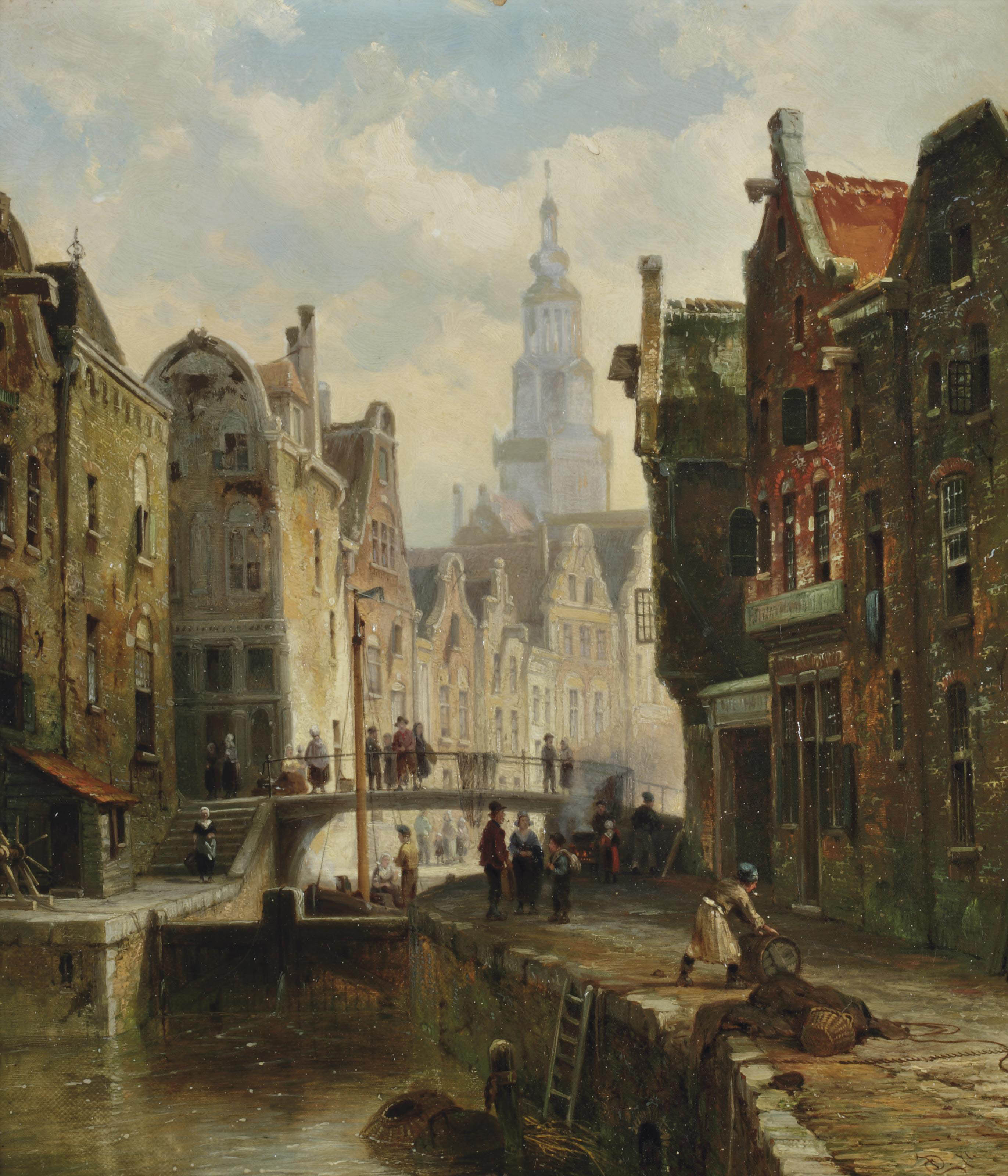 A townview with figures by a canal and a church in the background