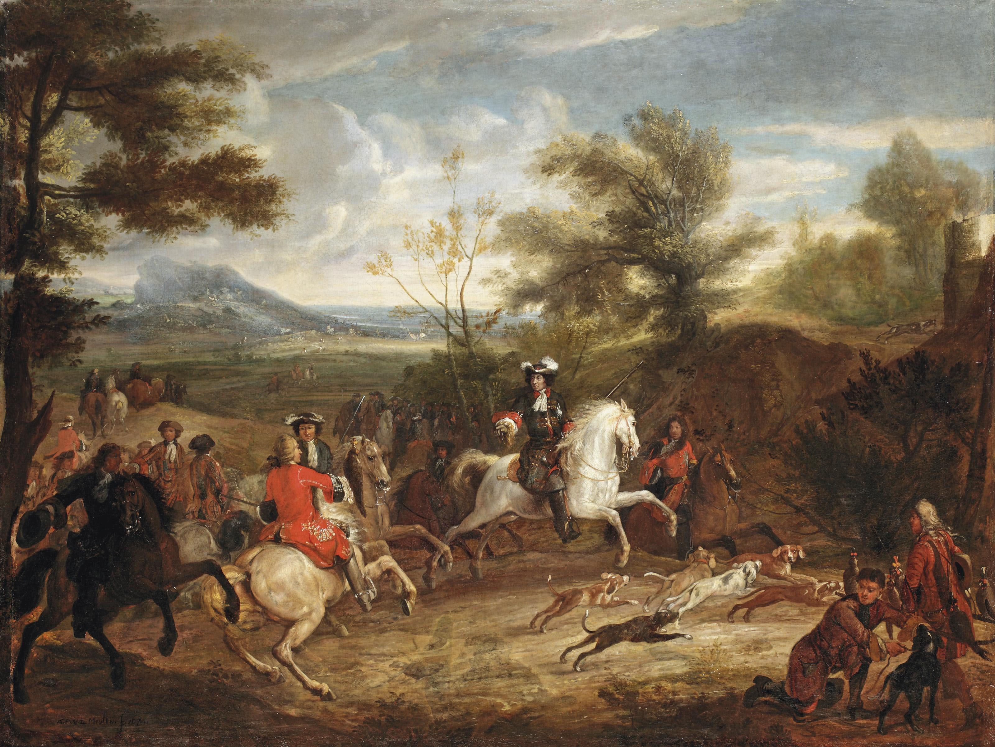 An elegant hunting party and their dogs following a trail