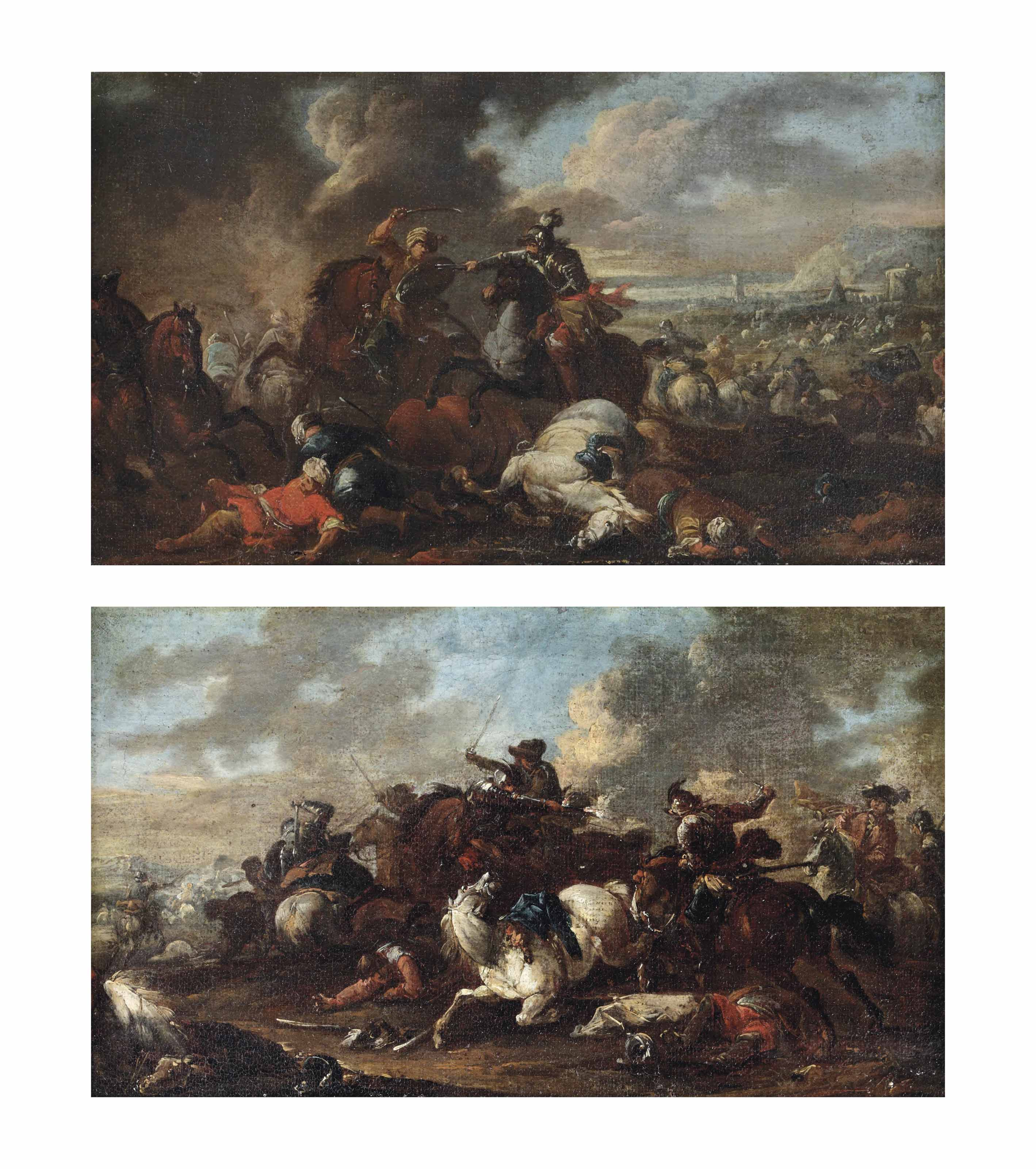 A battle between knights and Ottomans; and A cavalry skirmish