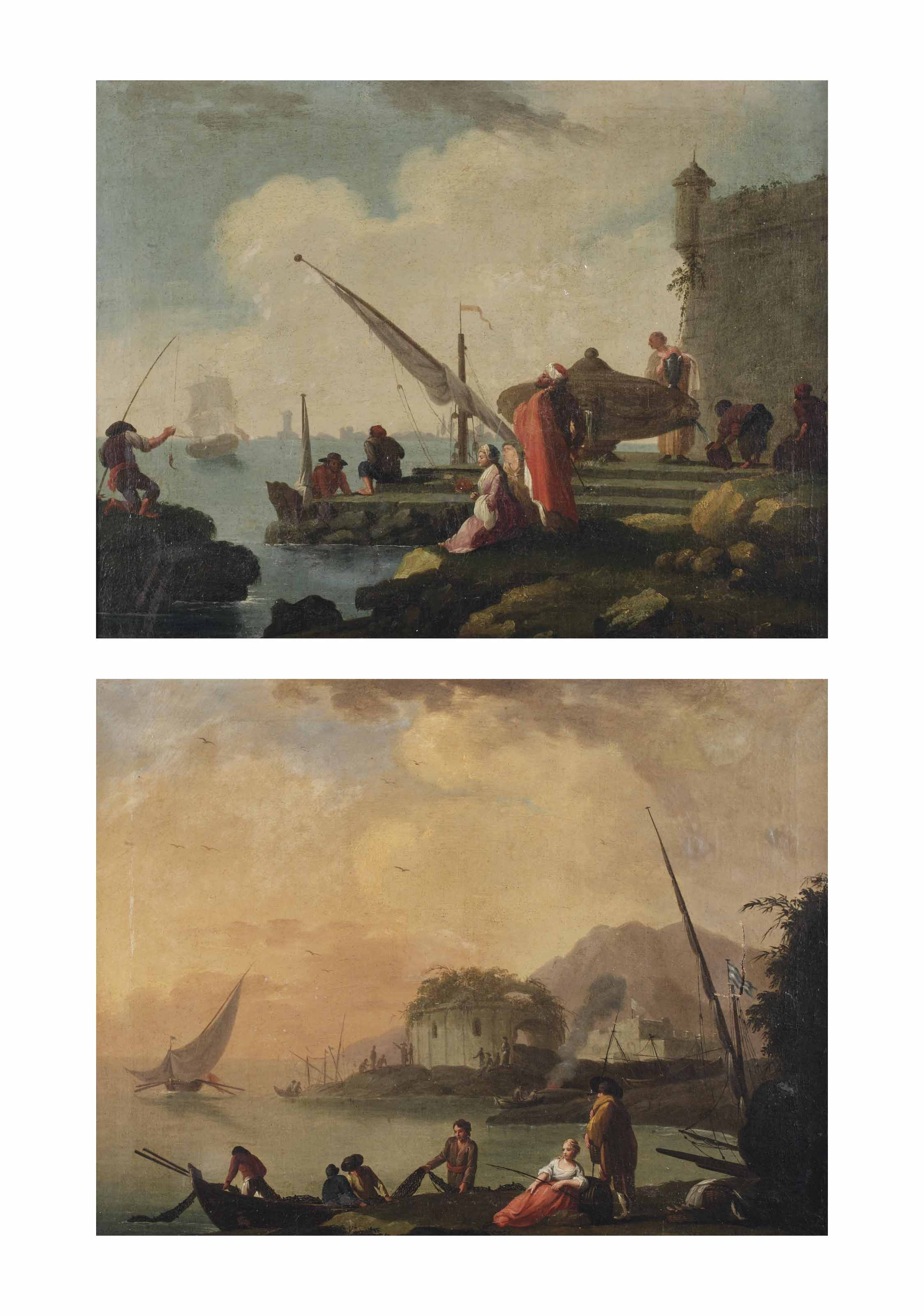 A Mediterranean harbour with an elegant company and fishermen; and An Italianate coastal landscape with fishermen on the shore near a classical ruin, a mountain range beyond