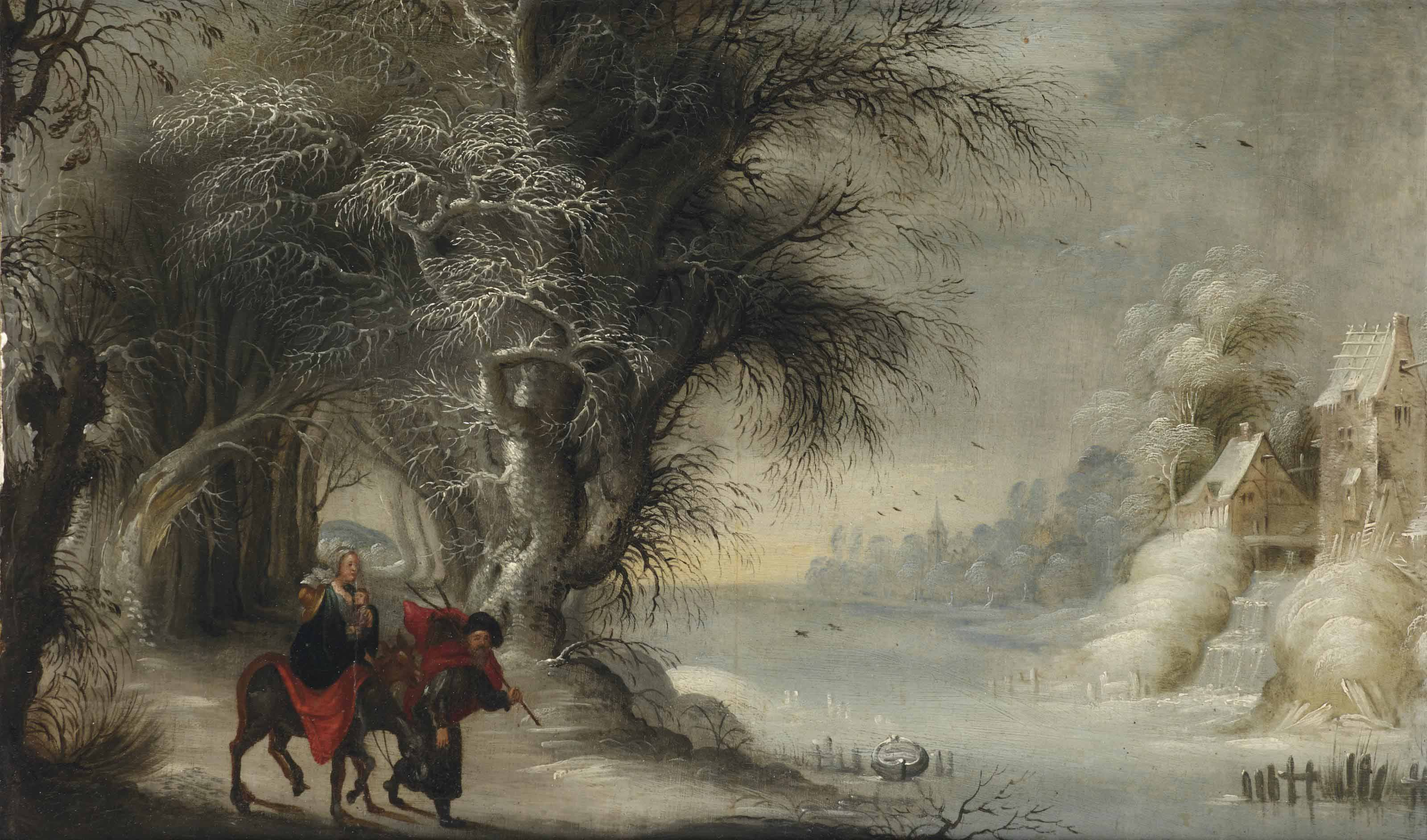 A winter landscape with the Flight into Egypt