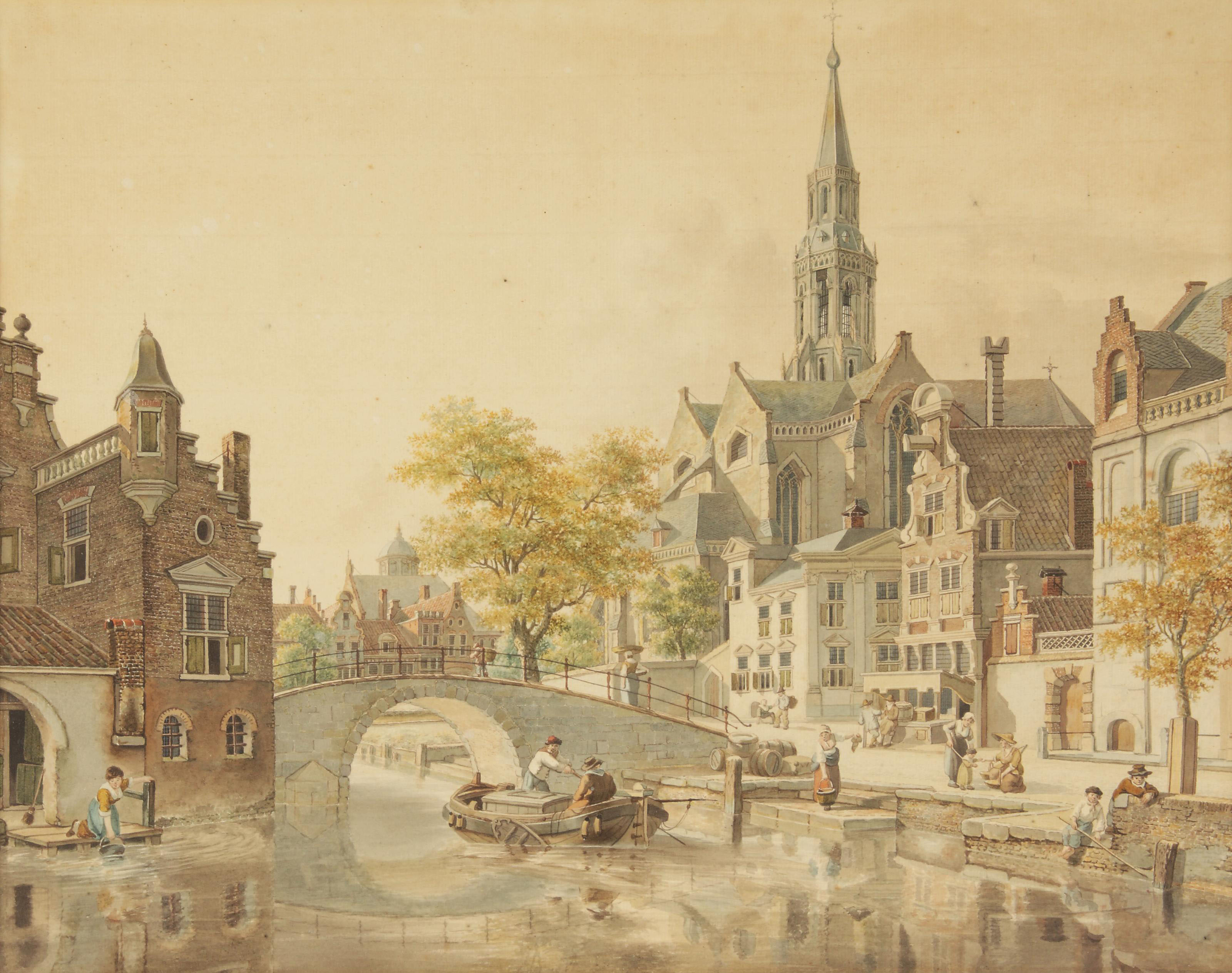 A busy day in a sunlit Dutch town