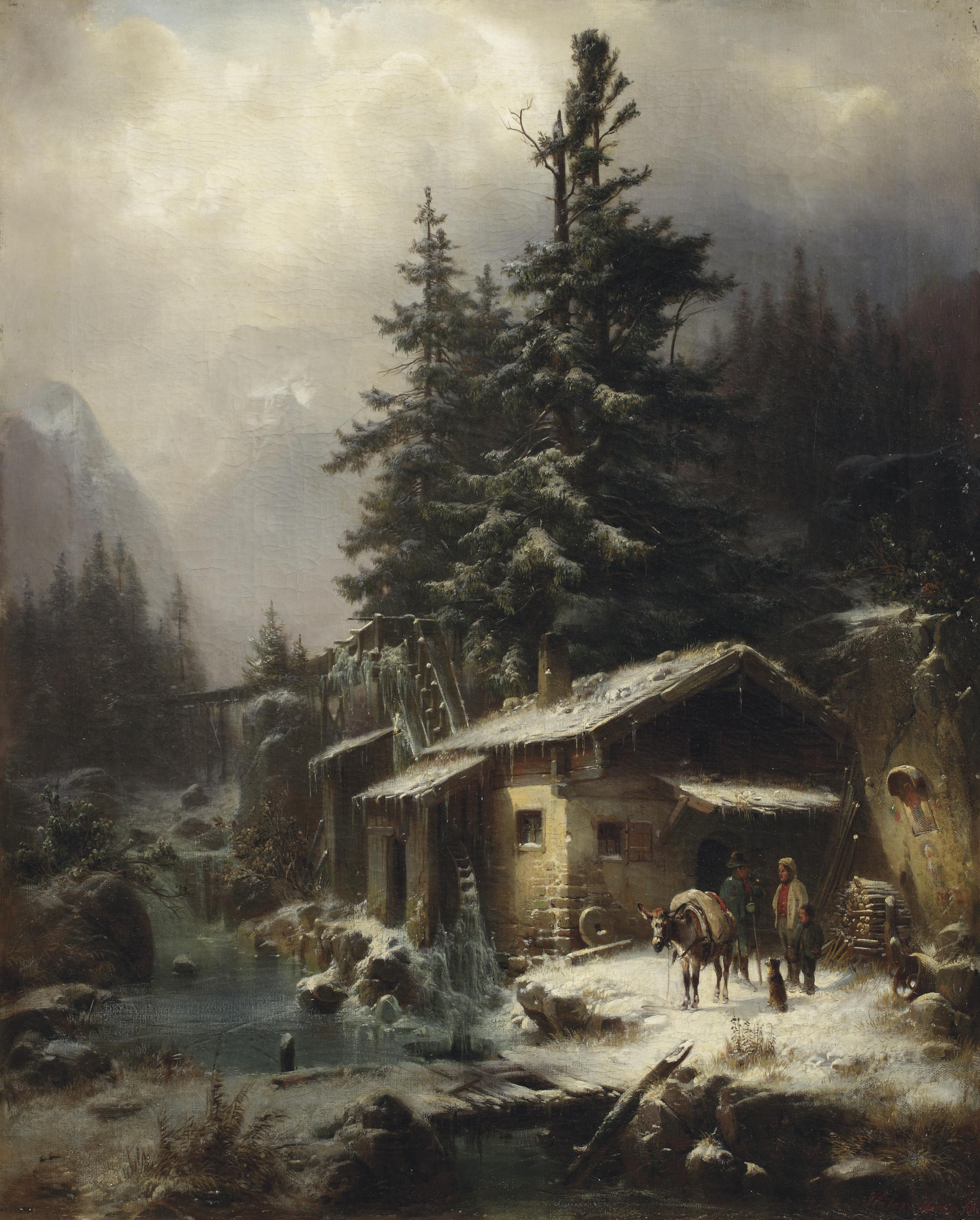 A winter landscape with figures resting near a water mill