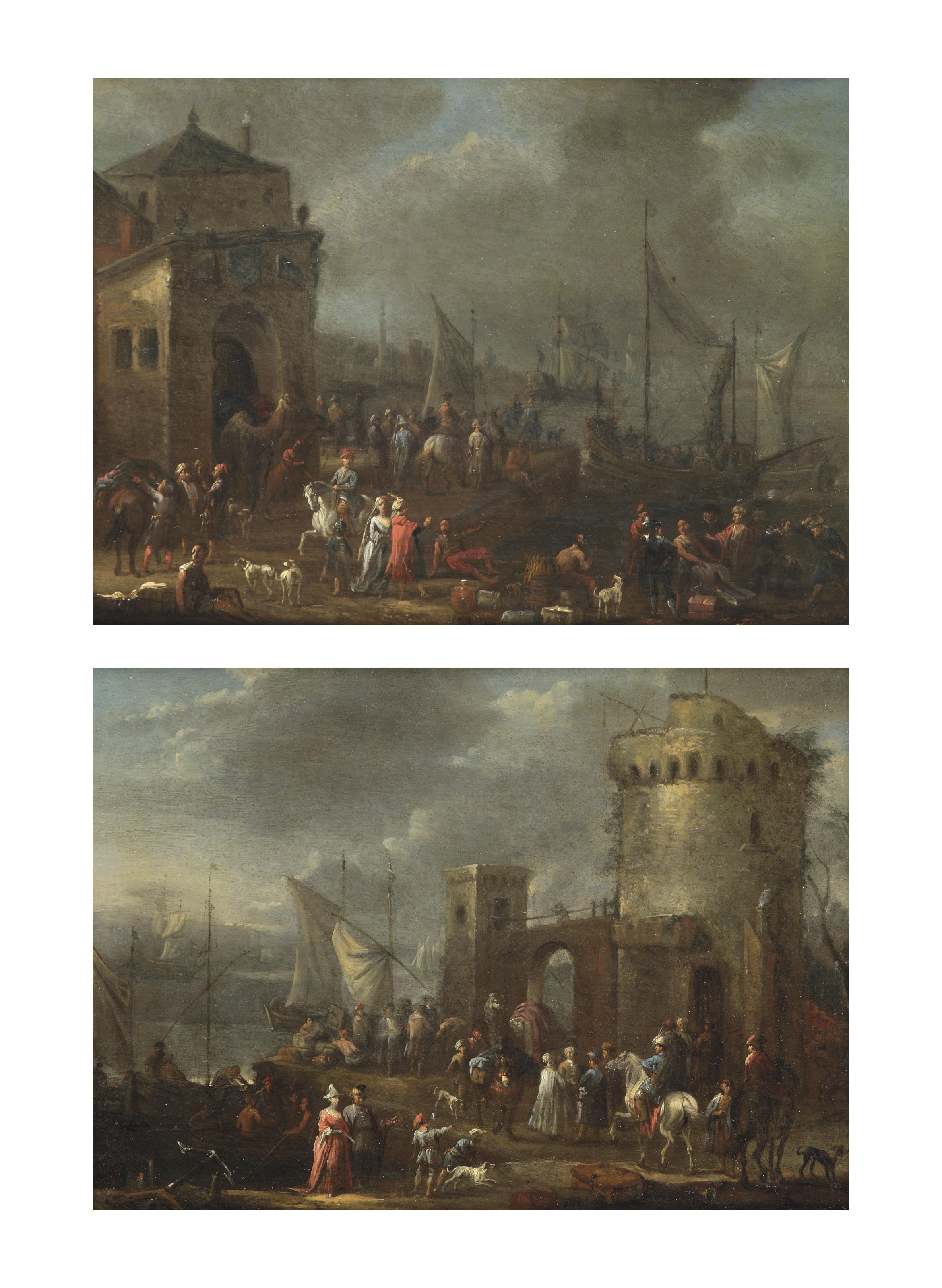 A harbour 'capriccio' with numerous figures; and A coastal landscape with numerous figures near a tower