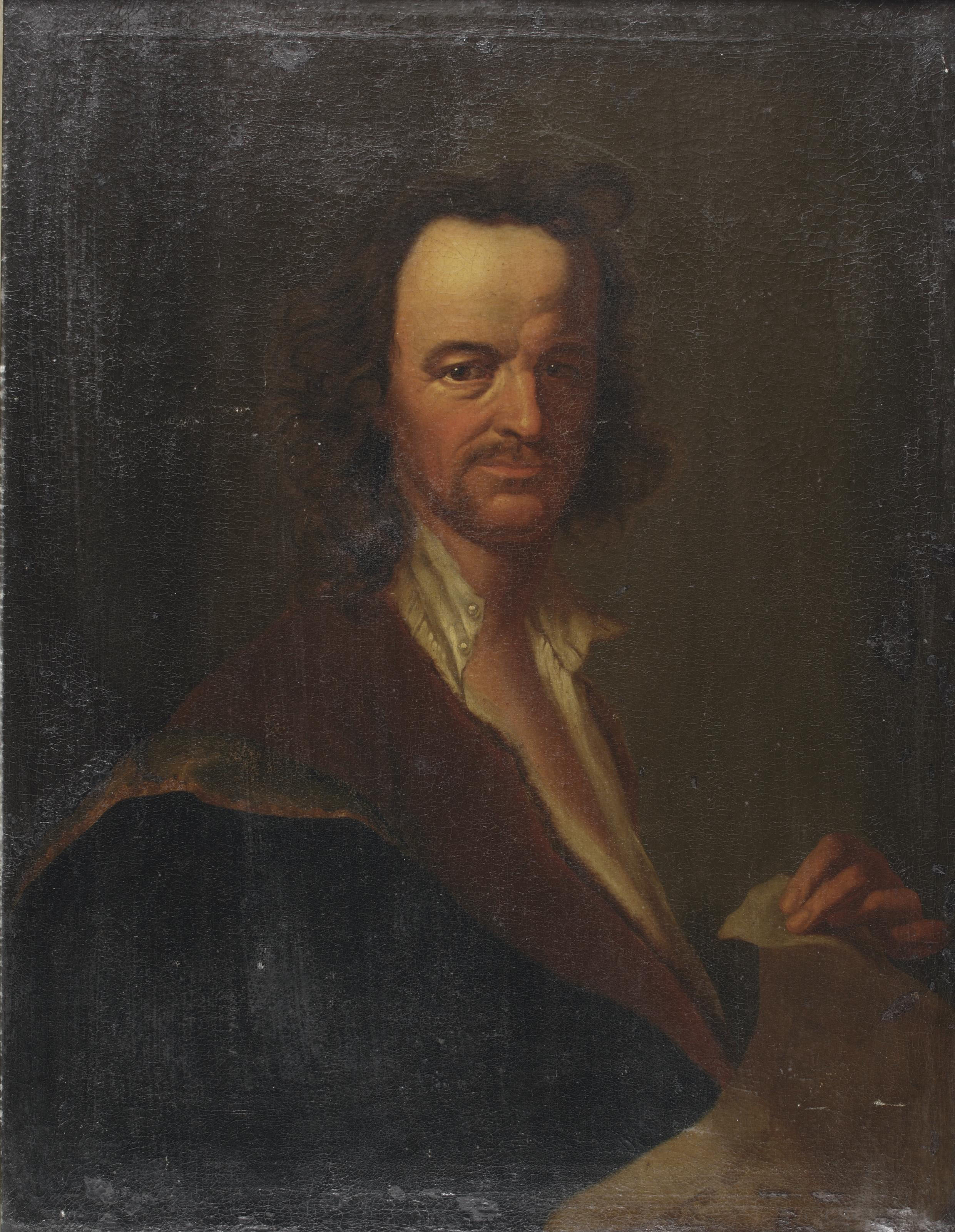Portrait of a man, half-length, holding a piece of paper, in a white chemise with a black and red coat