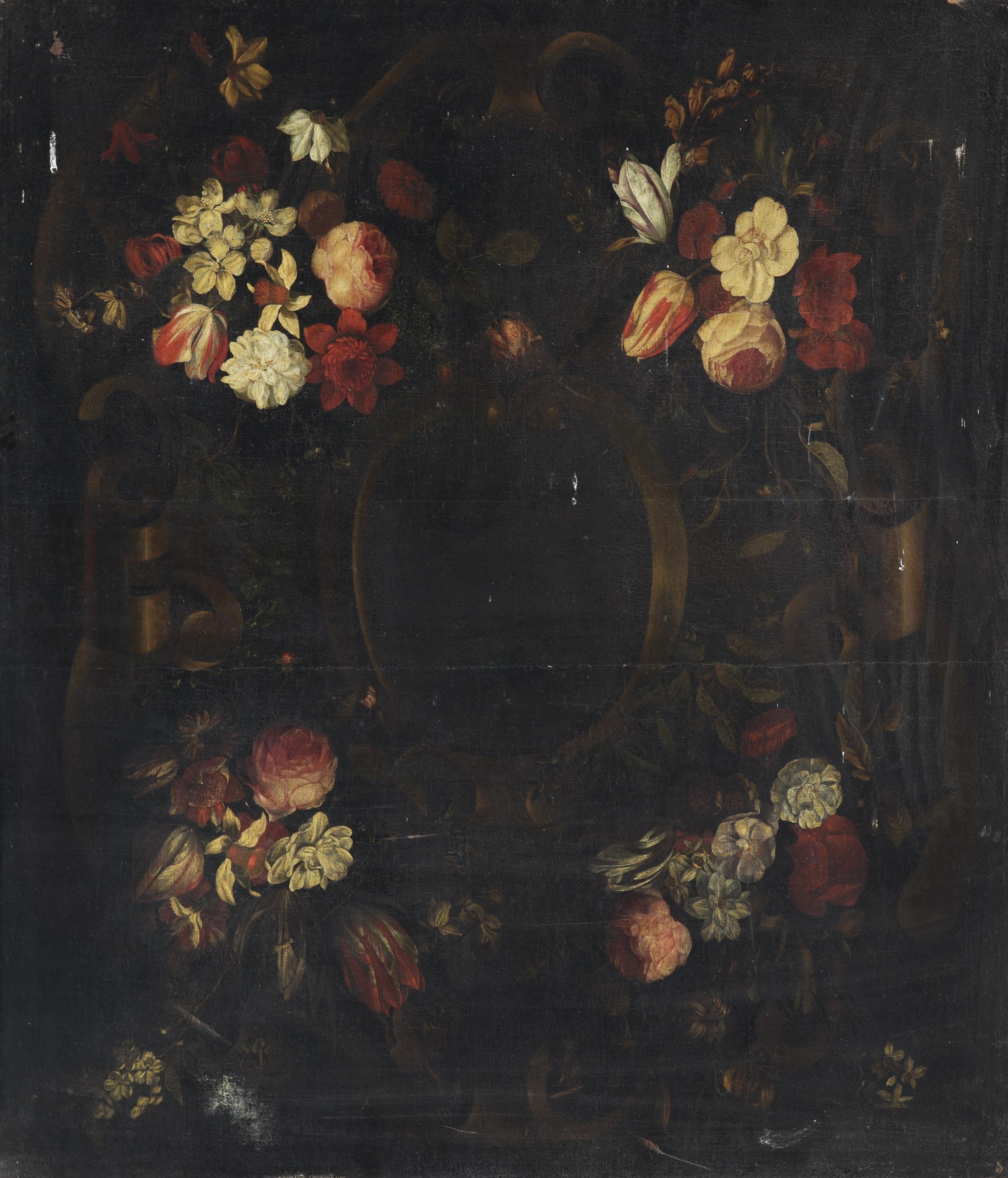 A stone cartouche surrounded by flower garlands with tulips, roses, blossoms, daffodils, peonies and daisies