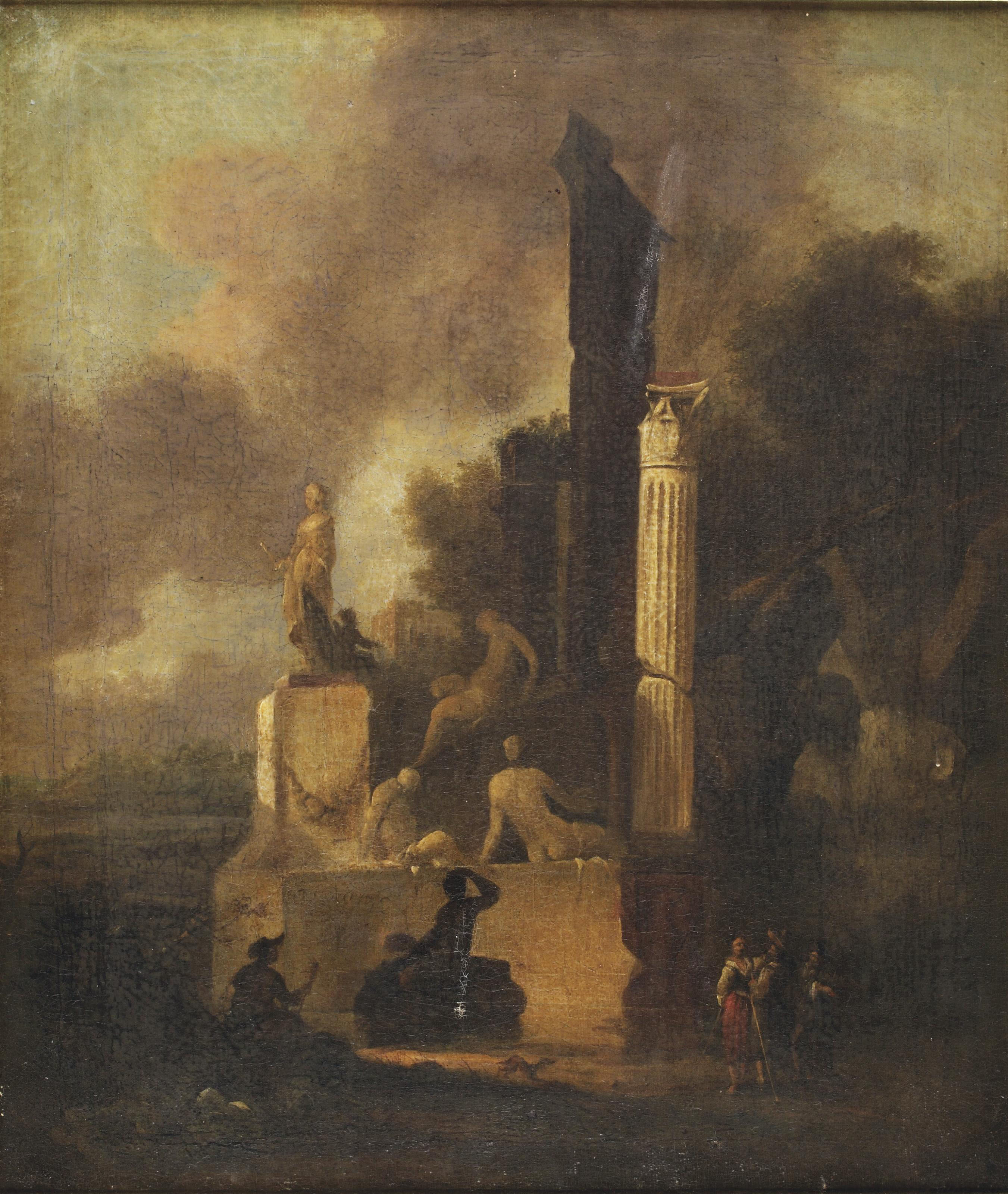 An Italianate landscape with a marble sculpture, a Roman column and classical ruins, an artist drawing and figures conversing in the foreground