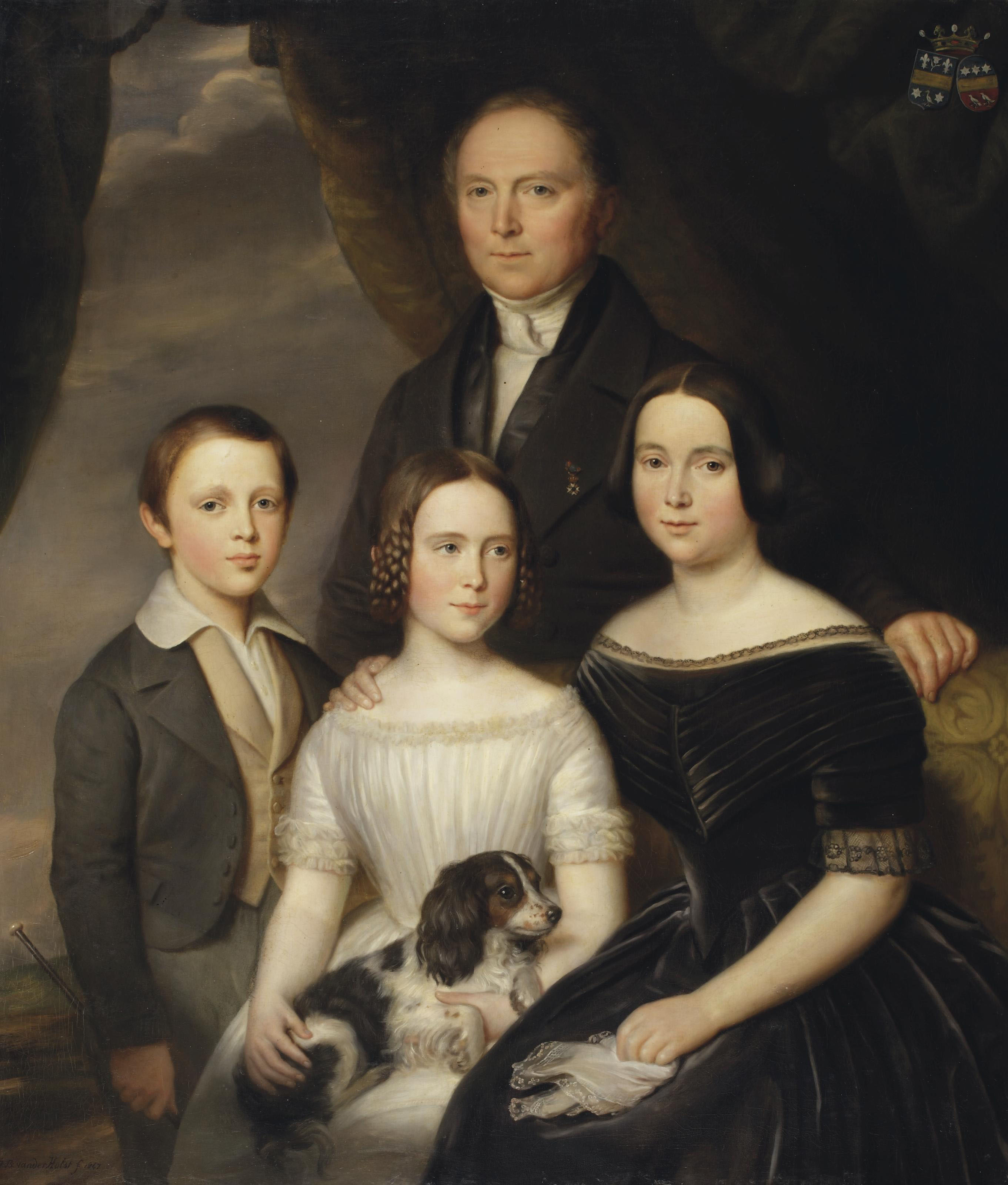 Portrait of Godefridus Andreas Melord van Middelharnis (1792-1870), standing, together with his wife Anna Josephina Wittert van Hoogland (1805-1878), seated on a couch with their children Everardus Bonefacius Andreas Melort van Middelharnis (1835-1878) and Louisa Gijsberta Cornelia (1833-1898), a garden landscape beyond
