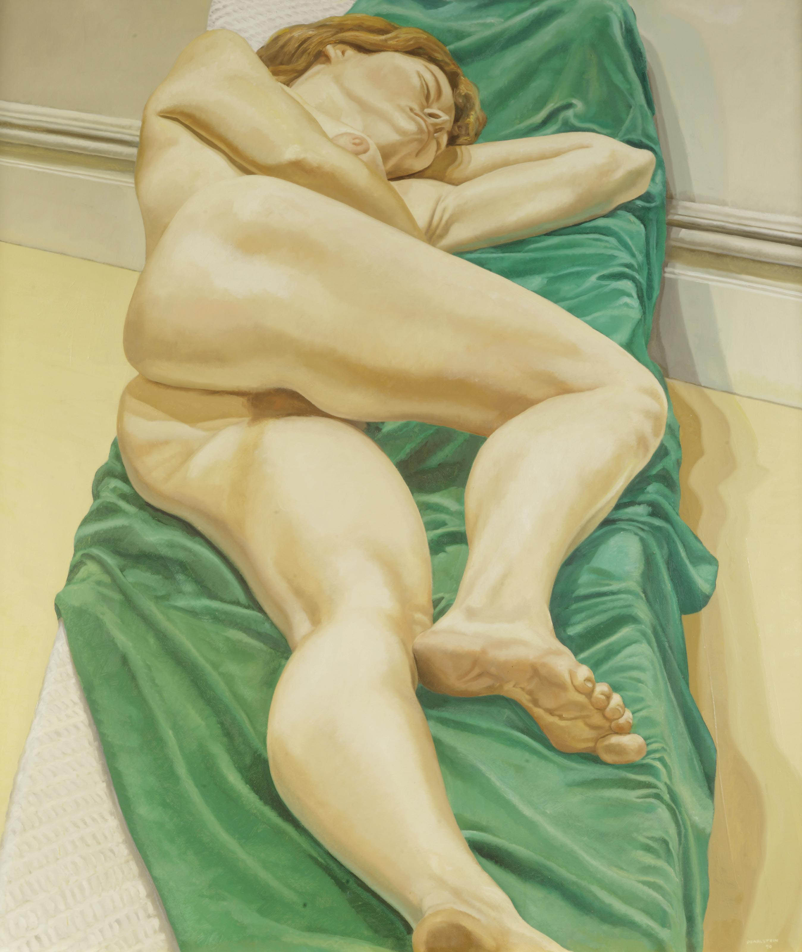 Nude on green drape